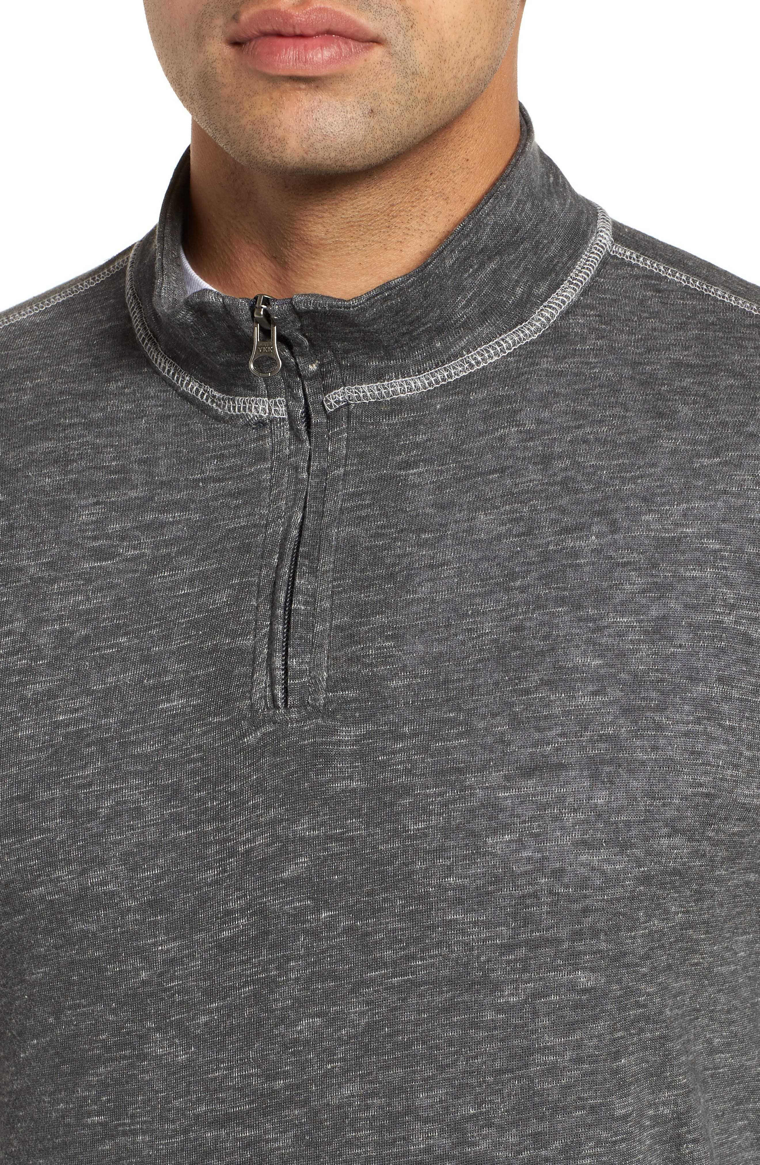 Space Dyed Quarter-Zip Shirt,                             Alternate thumbnail 4, color,                             CHARCOAL