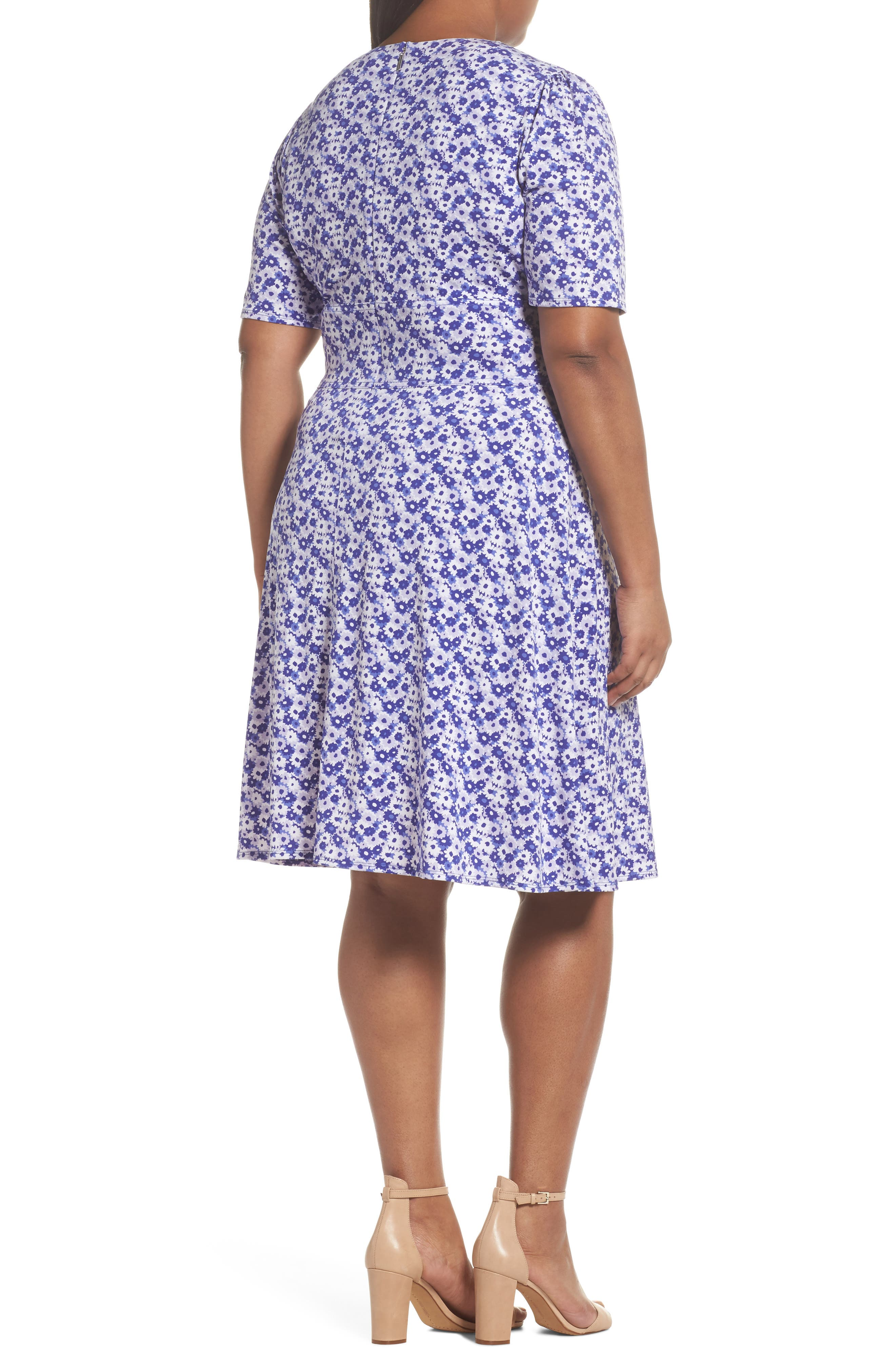 Floral Fit & Flare Dress,                             Alternate thumbnail 2, color,                             580