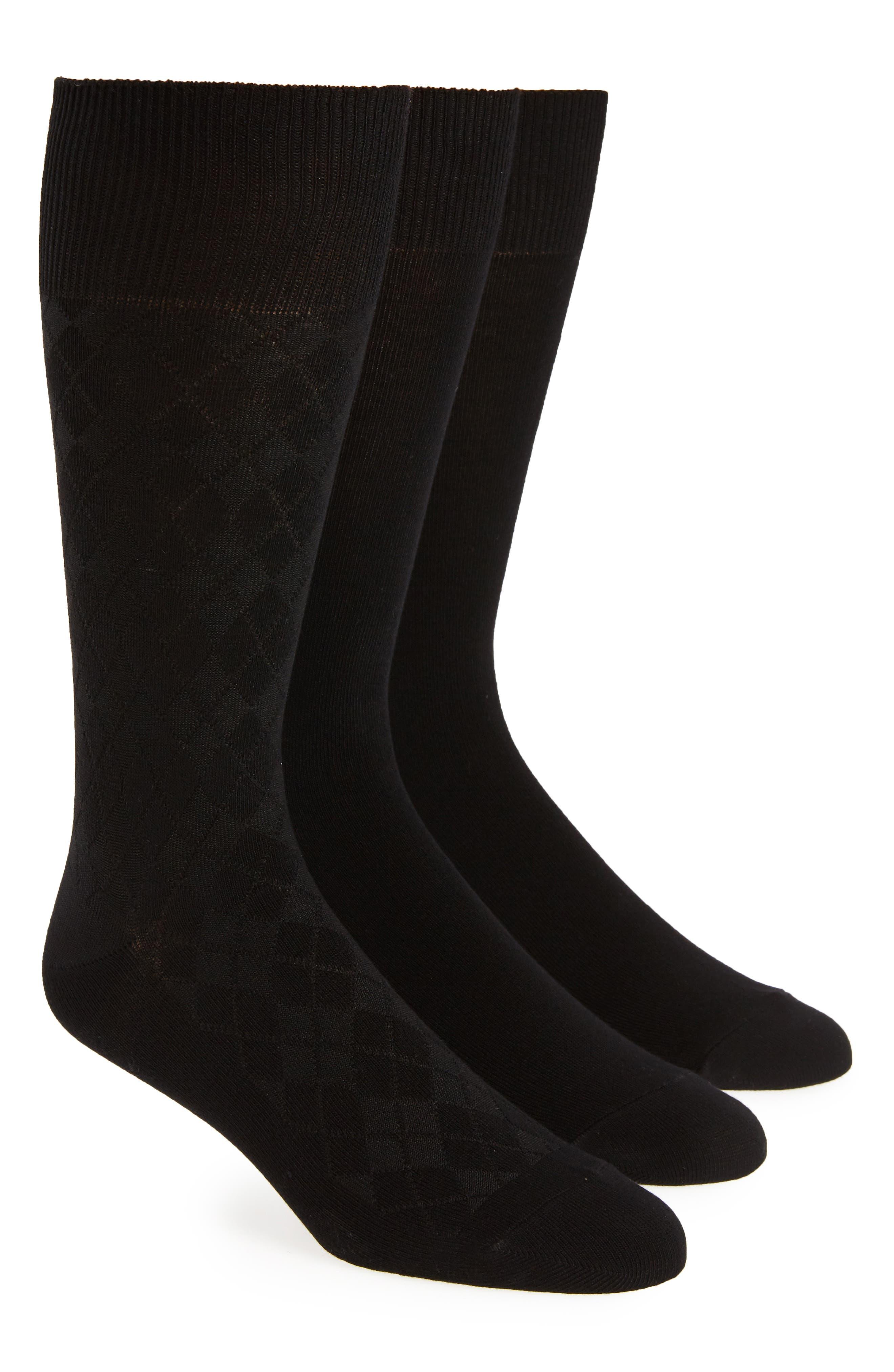 3-Pack Socks,                             Main thumbnail 1, color,                             BLACK