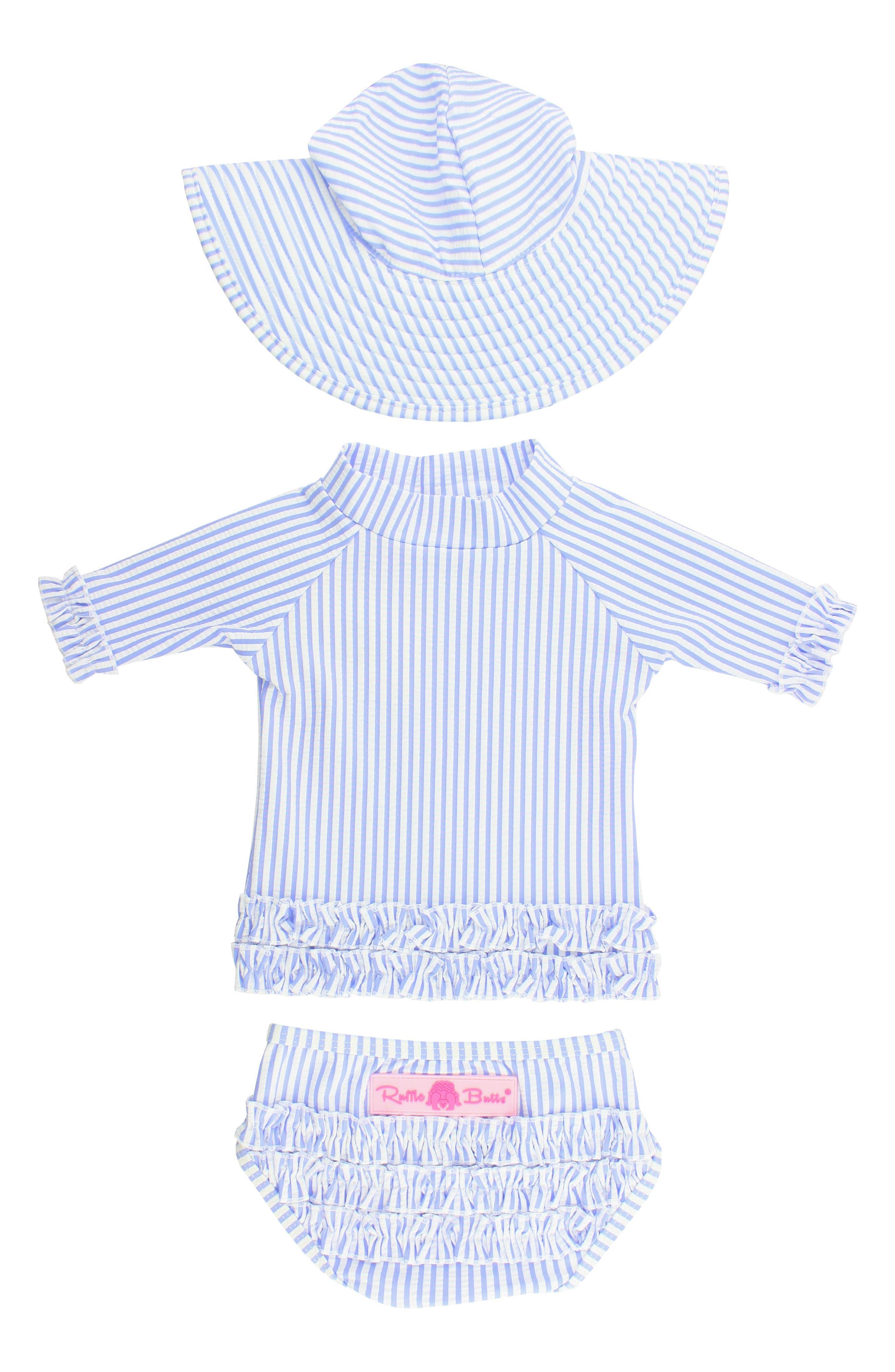Seersucker Two-Piece Rashguard Swimsuit & Hat Set,                             Main thumbnail 1, color,                             BLUE