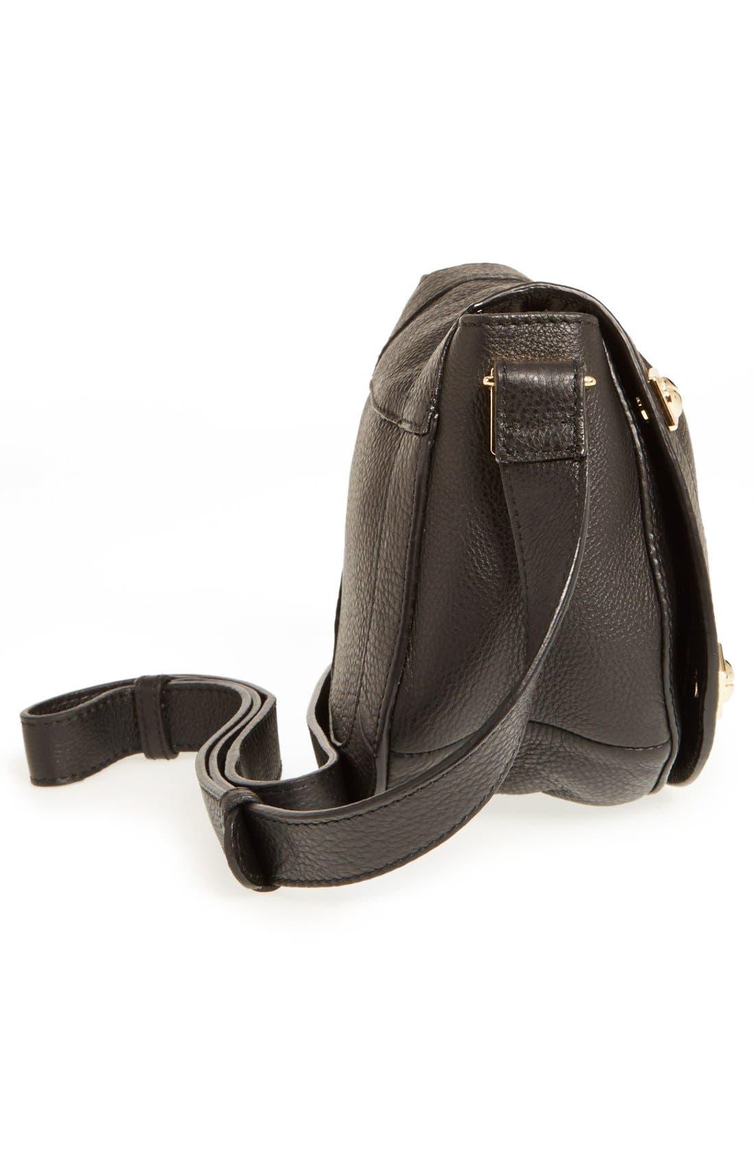 'Mini Sadie' Leather Crossbody Bag,                             Alternate thumbnail 3, color,                             001
