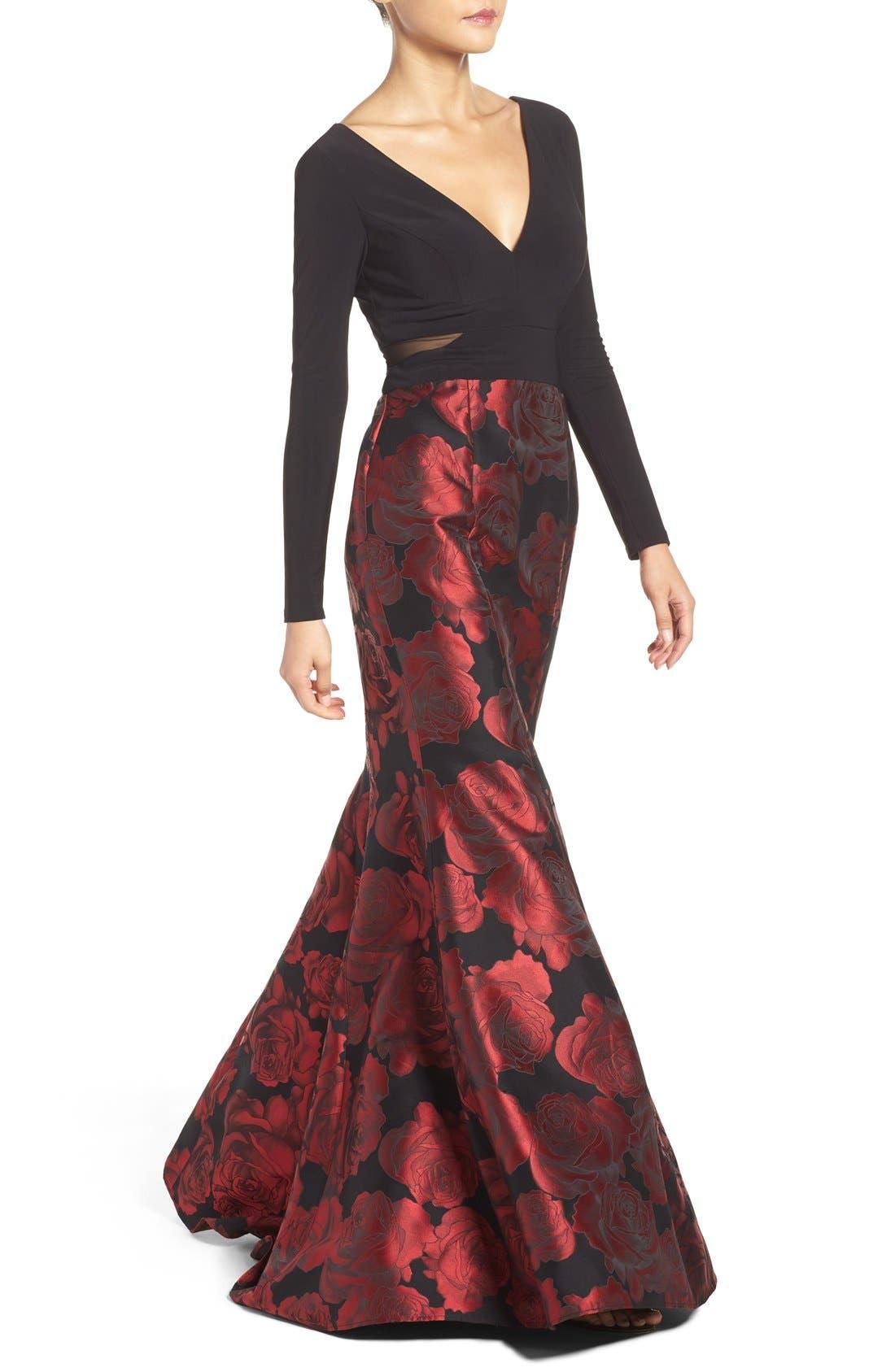 Brocade Mermaid Gown,                             Alternate thumbnail 9, color,                             607