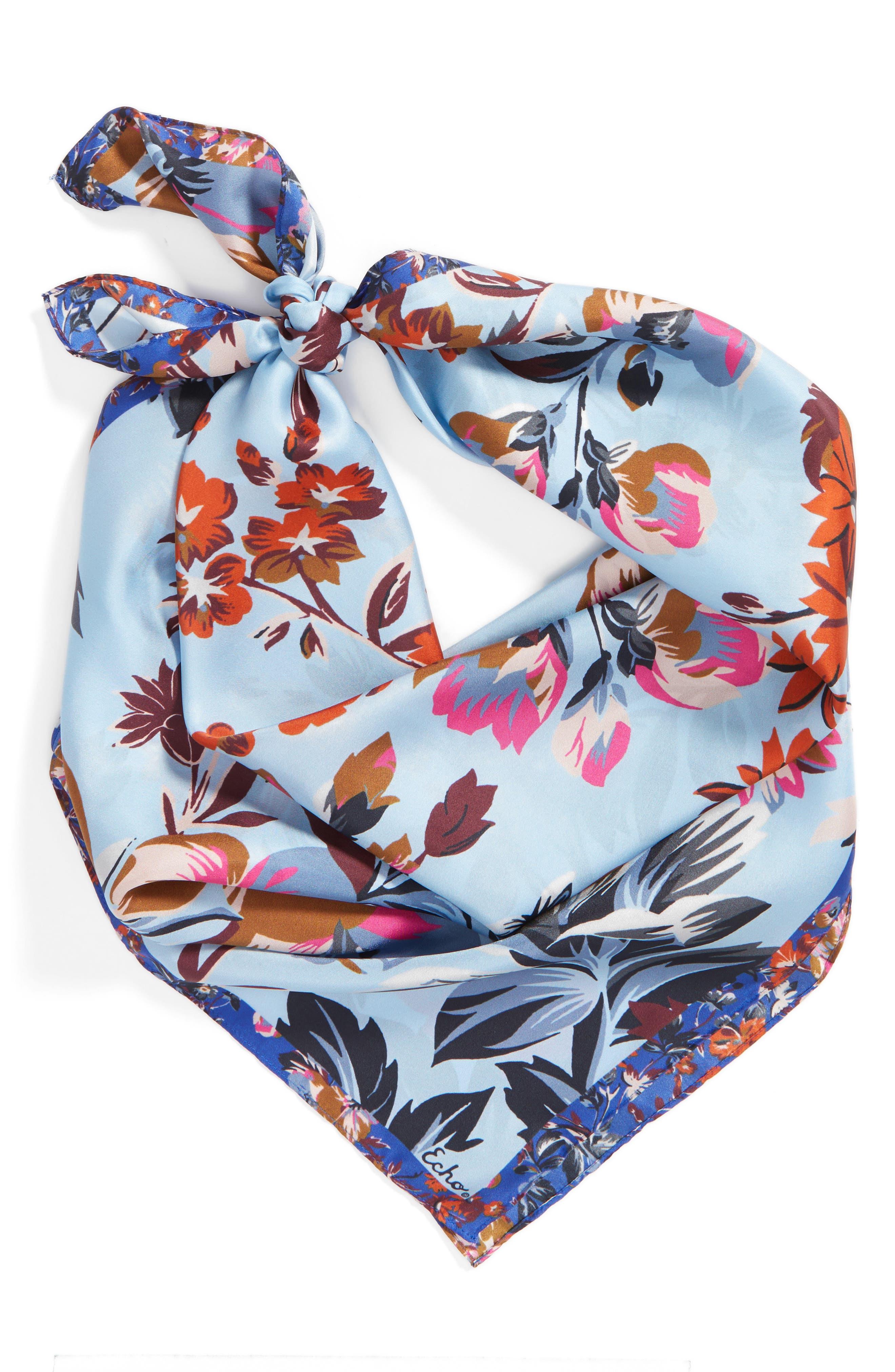 Highgate Floral Square Silk Scarf,                             Alternate thumbnail 4, color,