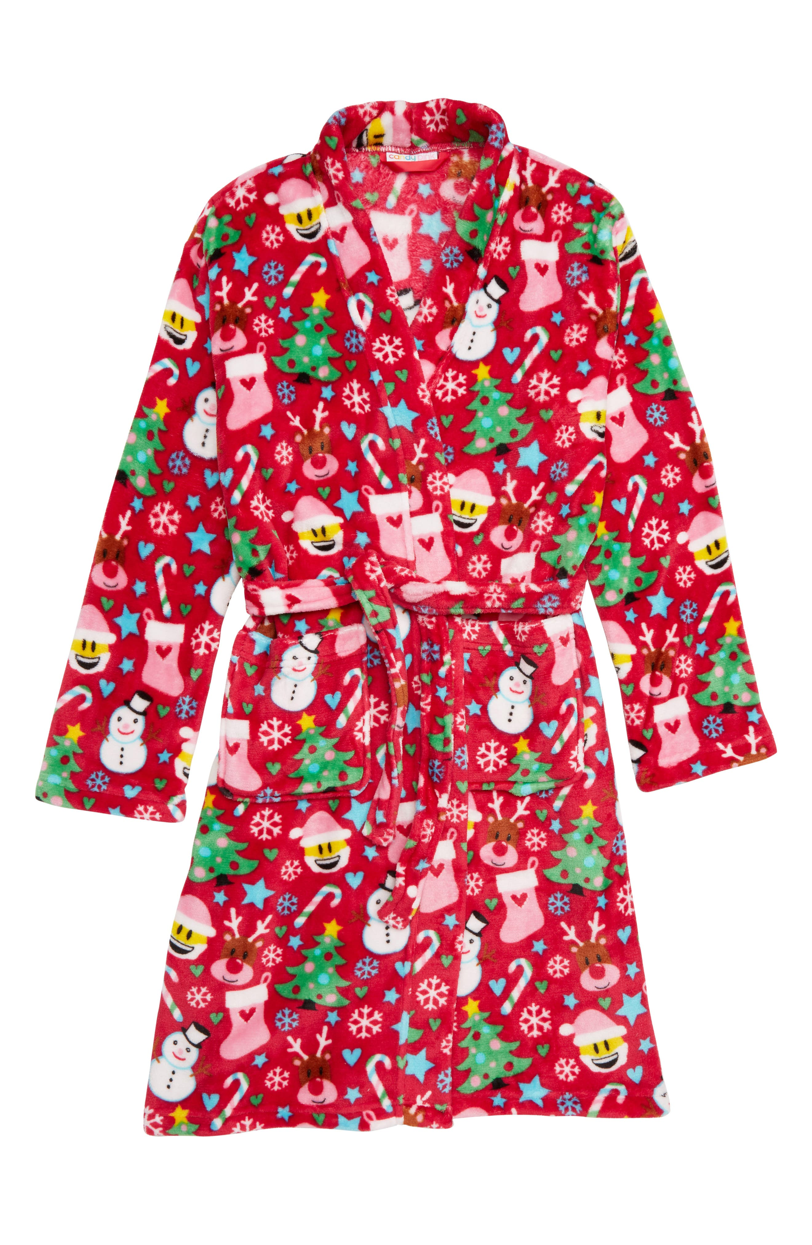 Holiday Fleece Robe,                         Main,                         color, XMAS RED