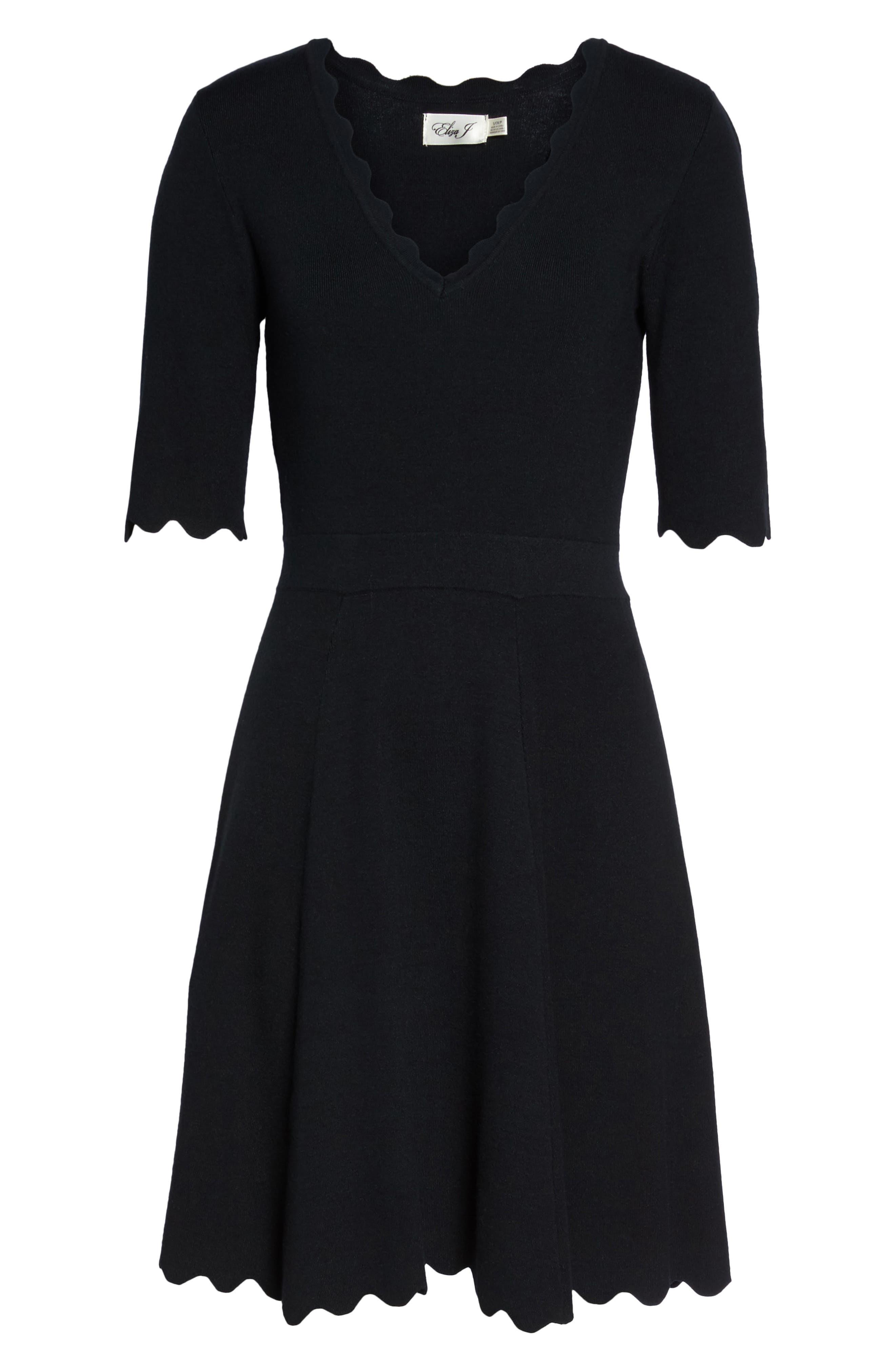 Scallop Trim Fit & Flare Dress,                             Alternate thumbnail 7, color,                             BLACK