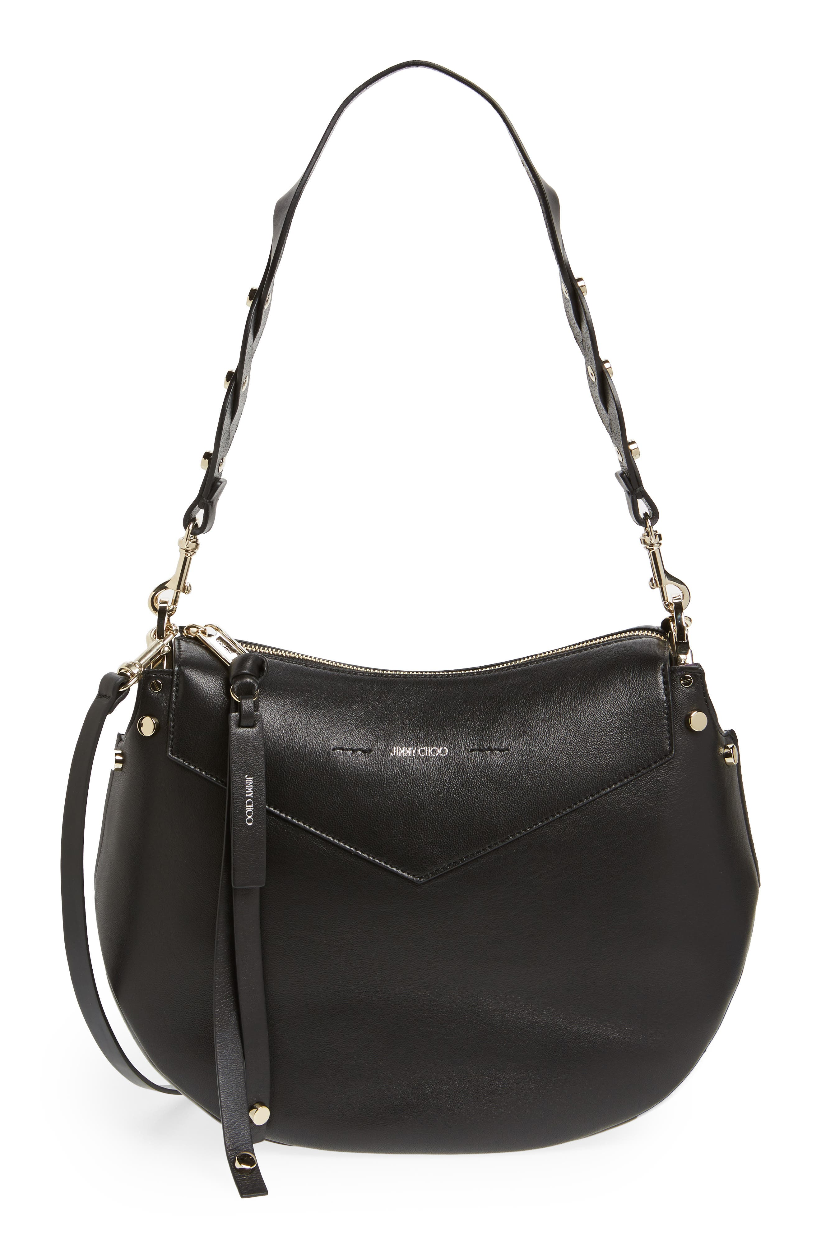 Artie Nappa Leather Hobo Bag,                             Main thumbnail 1, color,                             001