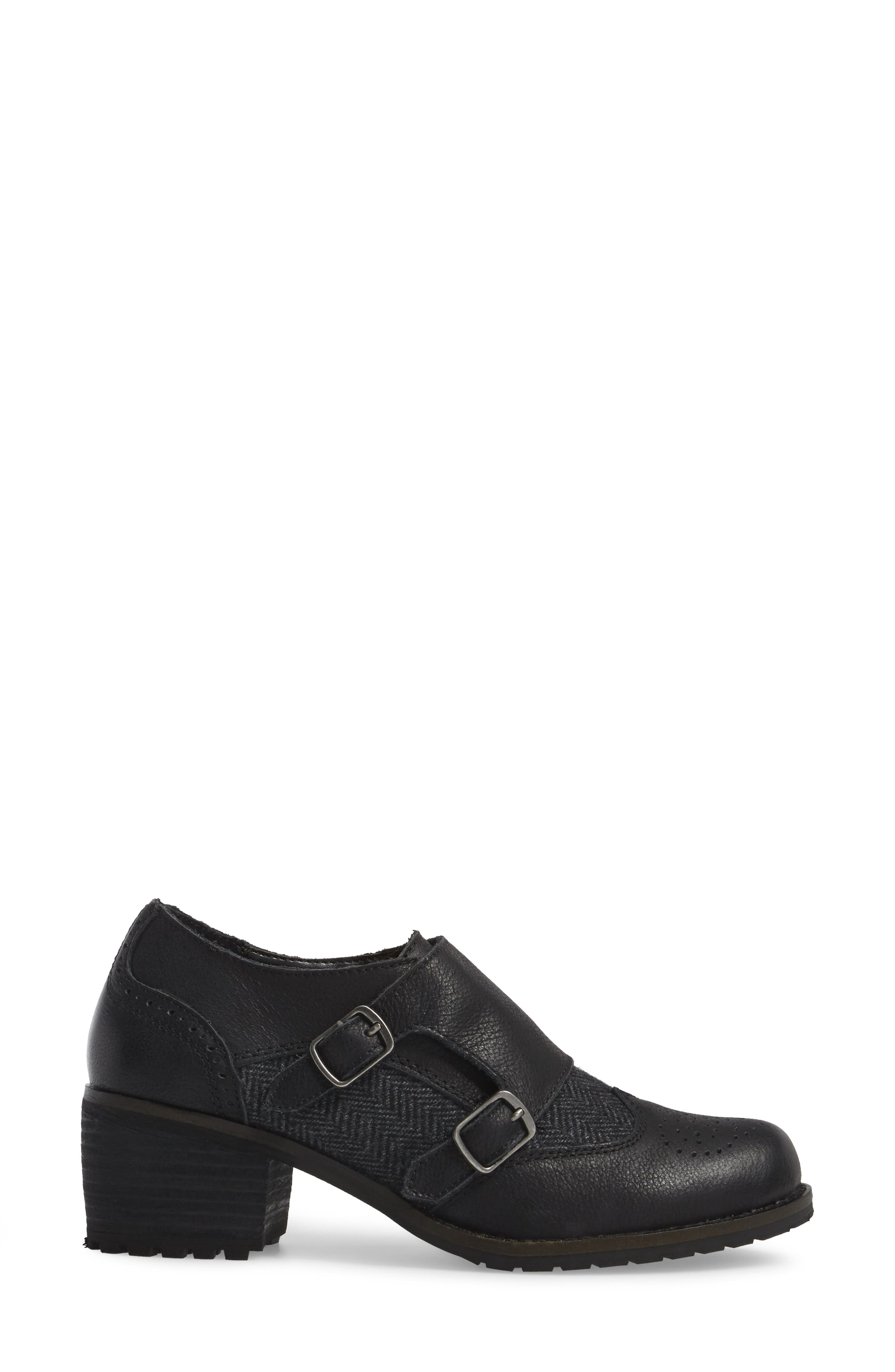 Dina Double Monk Strap Ankle Boot,                             Alternate thumbnail 3, color,                             BLACK LEATHER