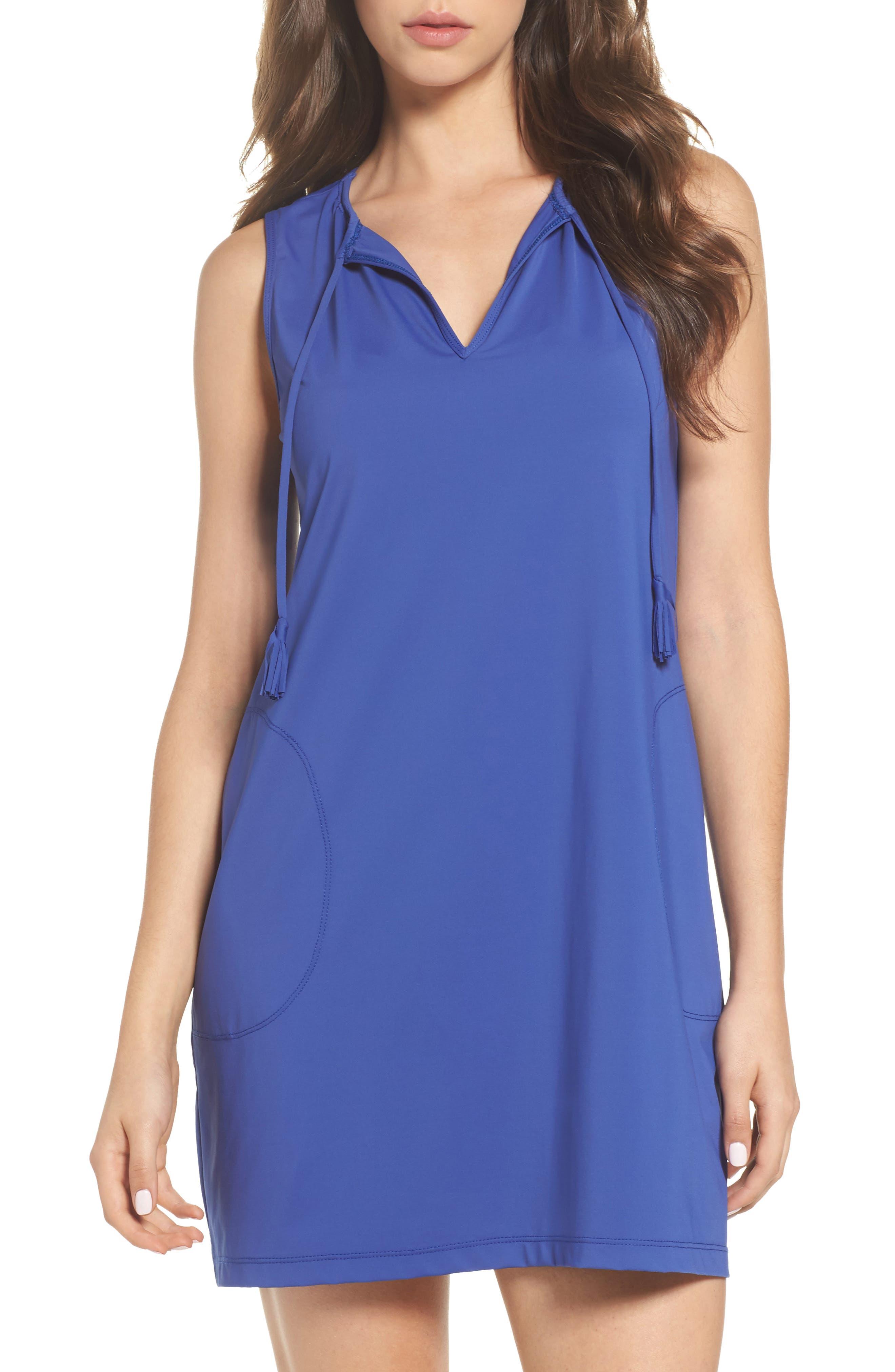 'Pearl' Split Neck Cover-Up Dress,                         Main,                         color, 400