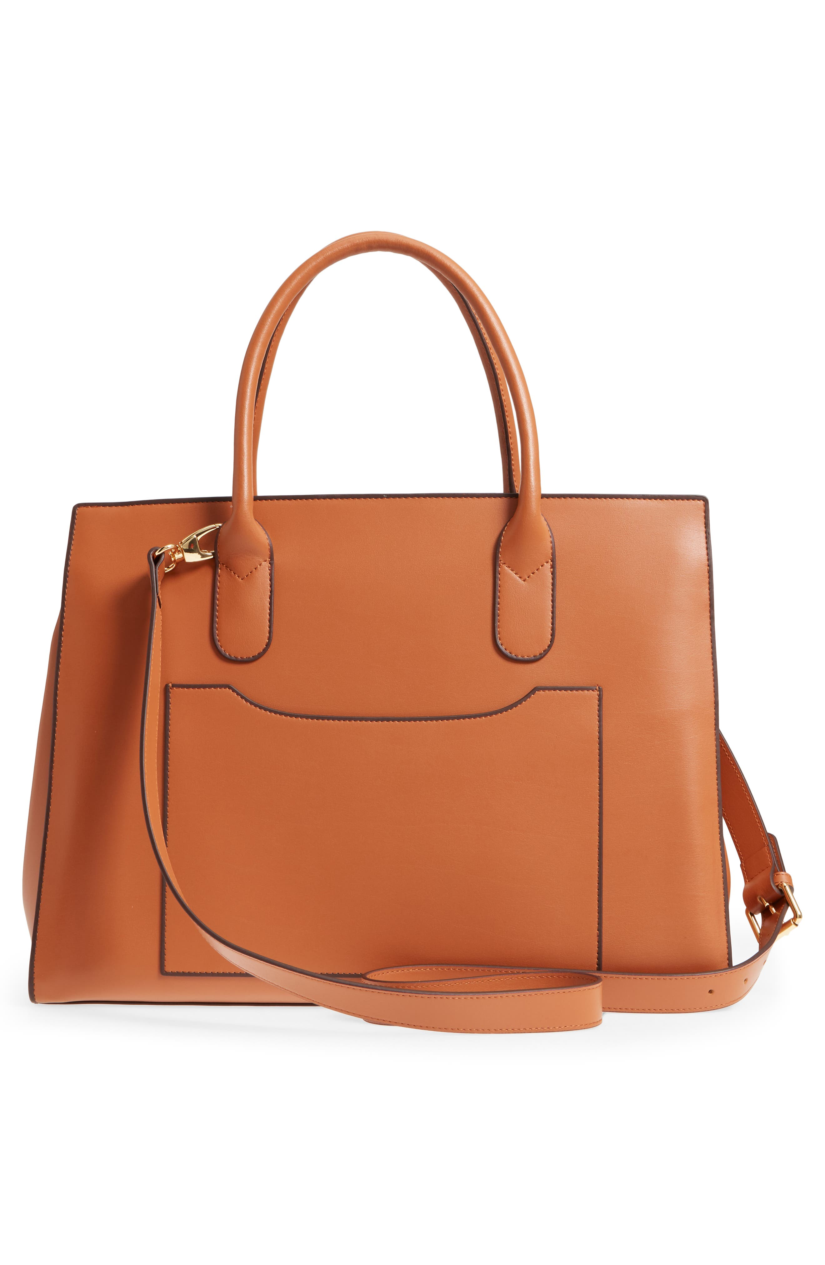 Rodeo Under Lock & Key – Gwyneth RFID Leather Tote,                             Alternate thumbnail 3, color,                             TOFFEE