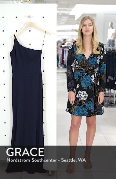 Amy One-Shoulder Crepe Gown, sales video thumbnail