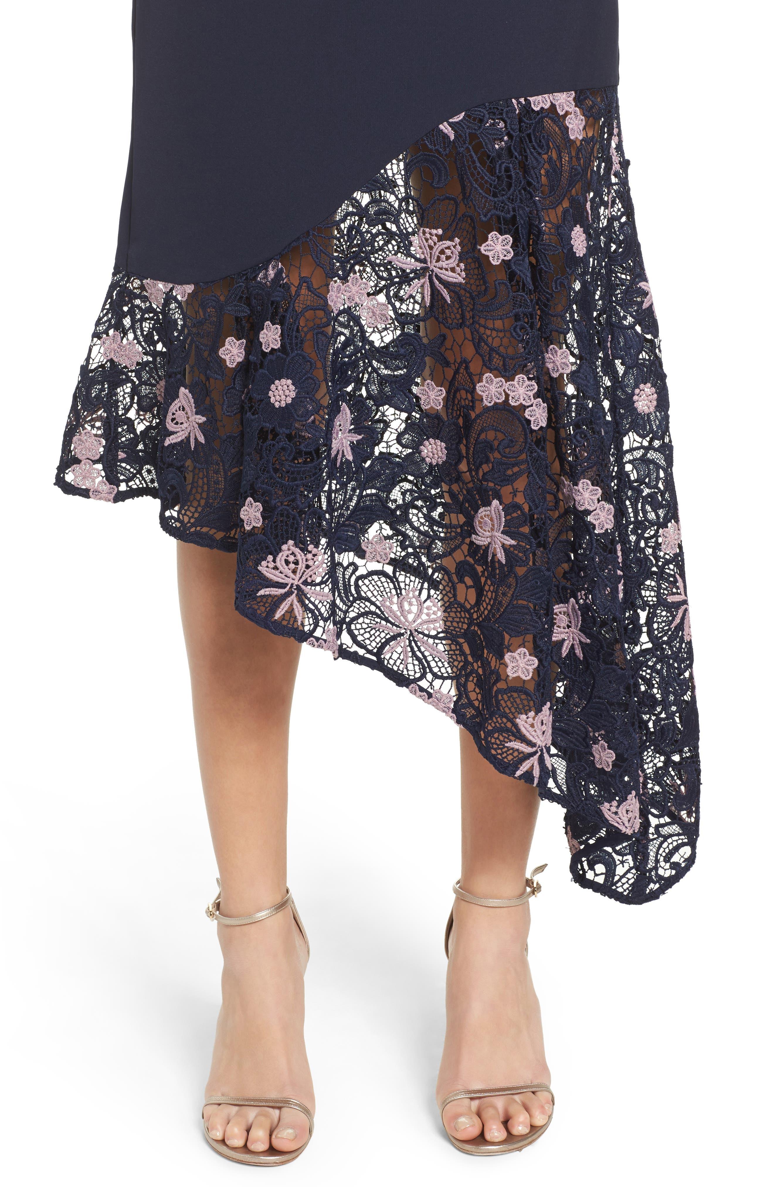 Botanic Bloom Lace Asymmetric Skirt,                             Alternate thumbnail 4, color,                             413