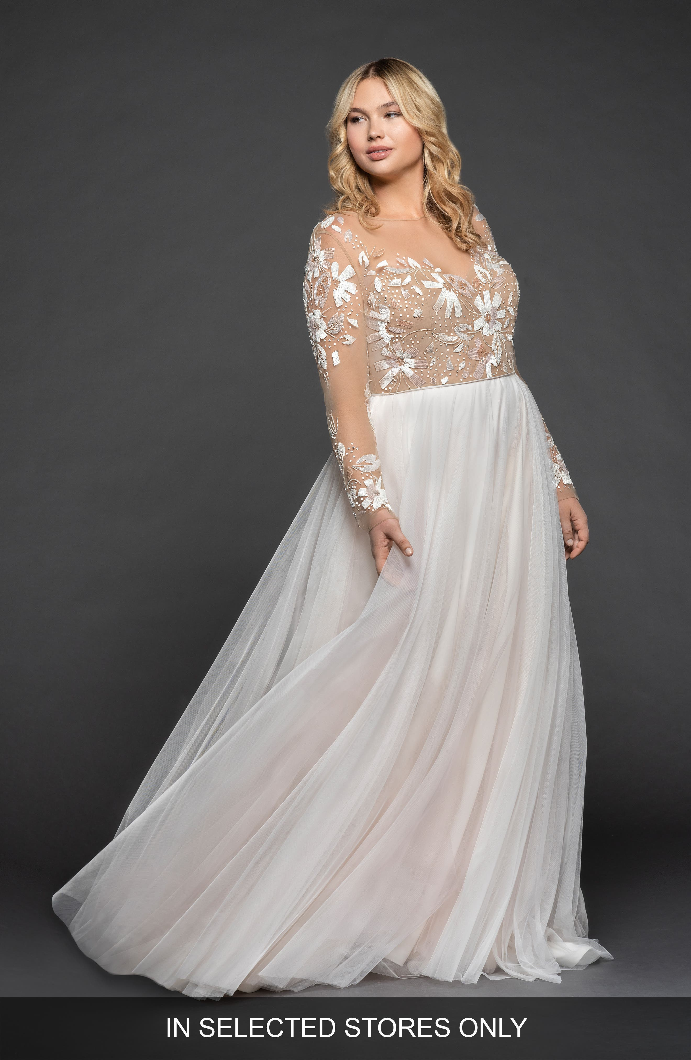 Remmington Embellished English Tulle Gown,                             Main thumbnail 1, color,                             IVORY