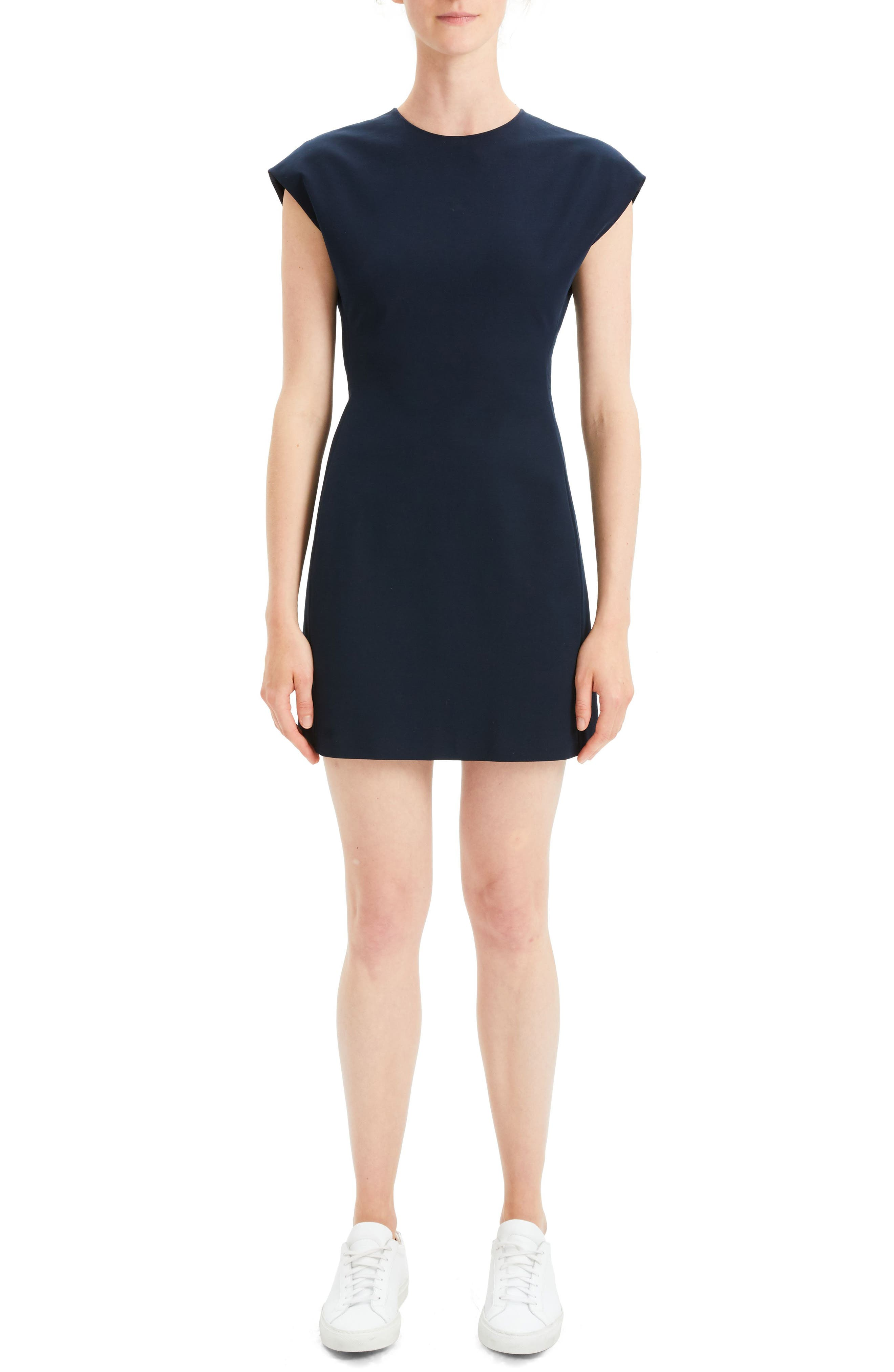 Theory Structured Fitted Dress, Blue