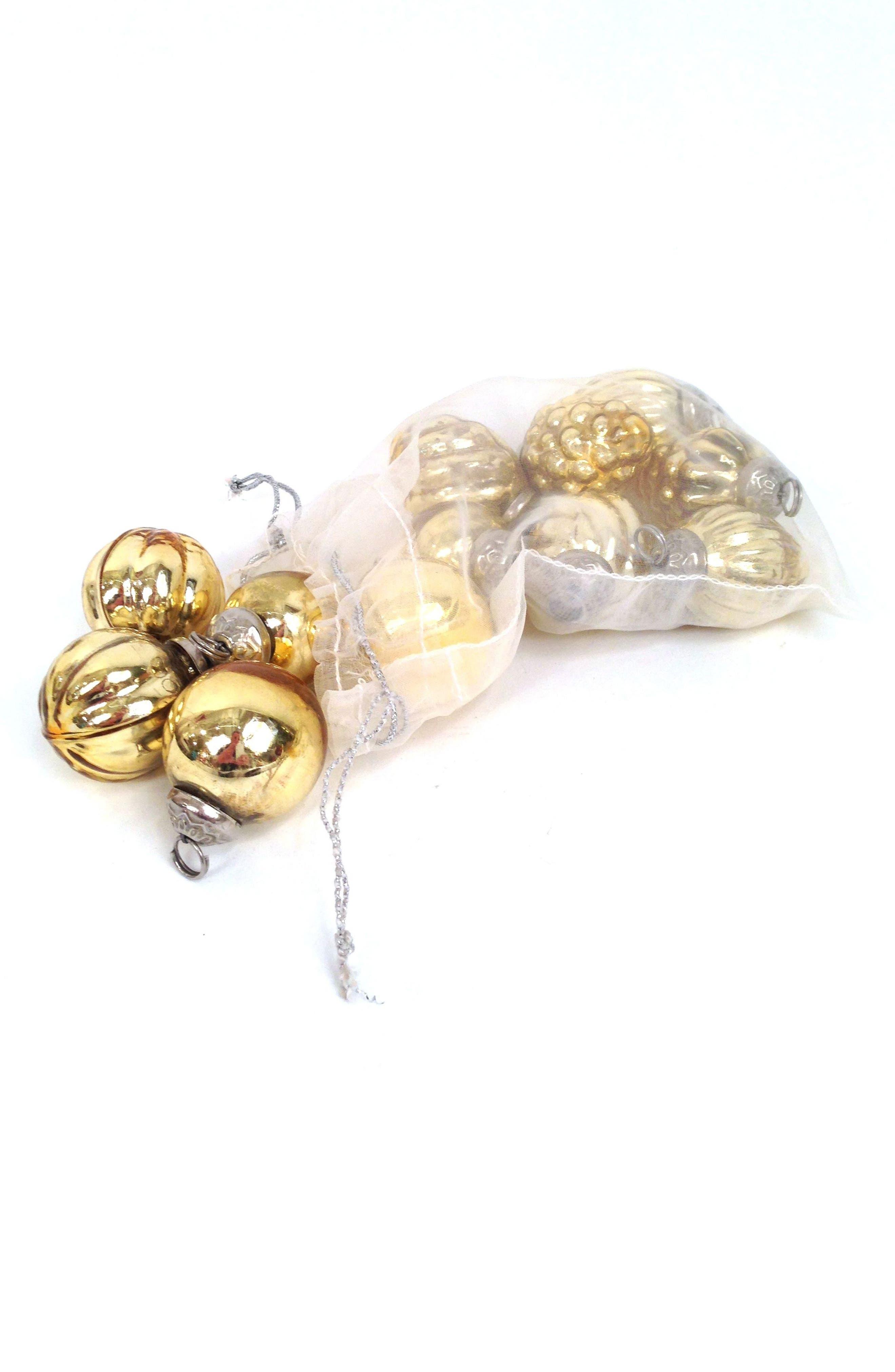 Set of 12 Antiqued Gilt Glass Ball Ornaments,                         Main,                         color,