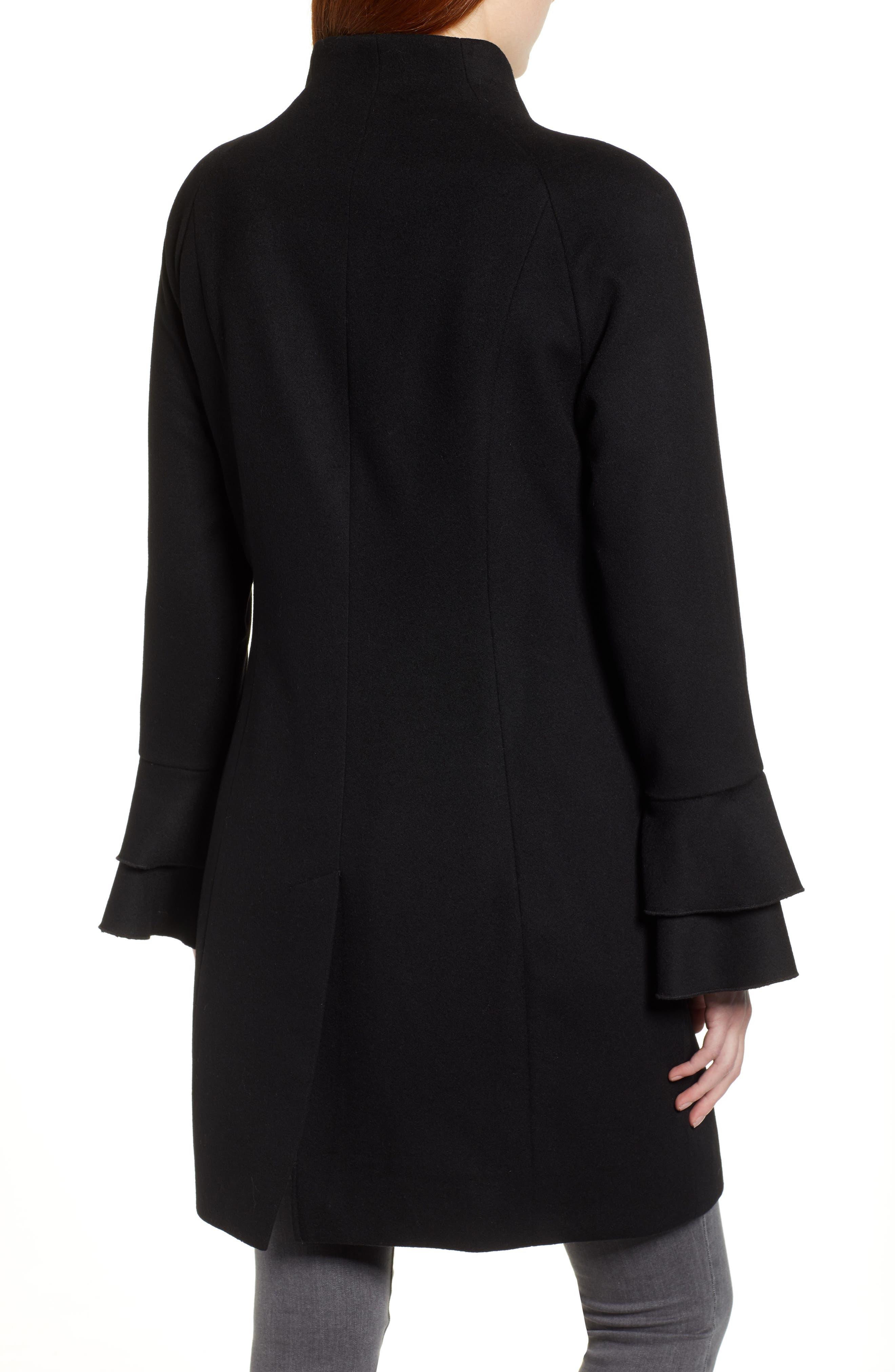 Sara Ruffle Cuff Wool Blend Coat,                             Alternate thumbnail 2, color,                             BLACK