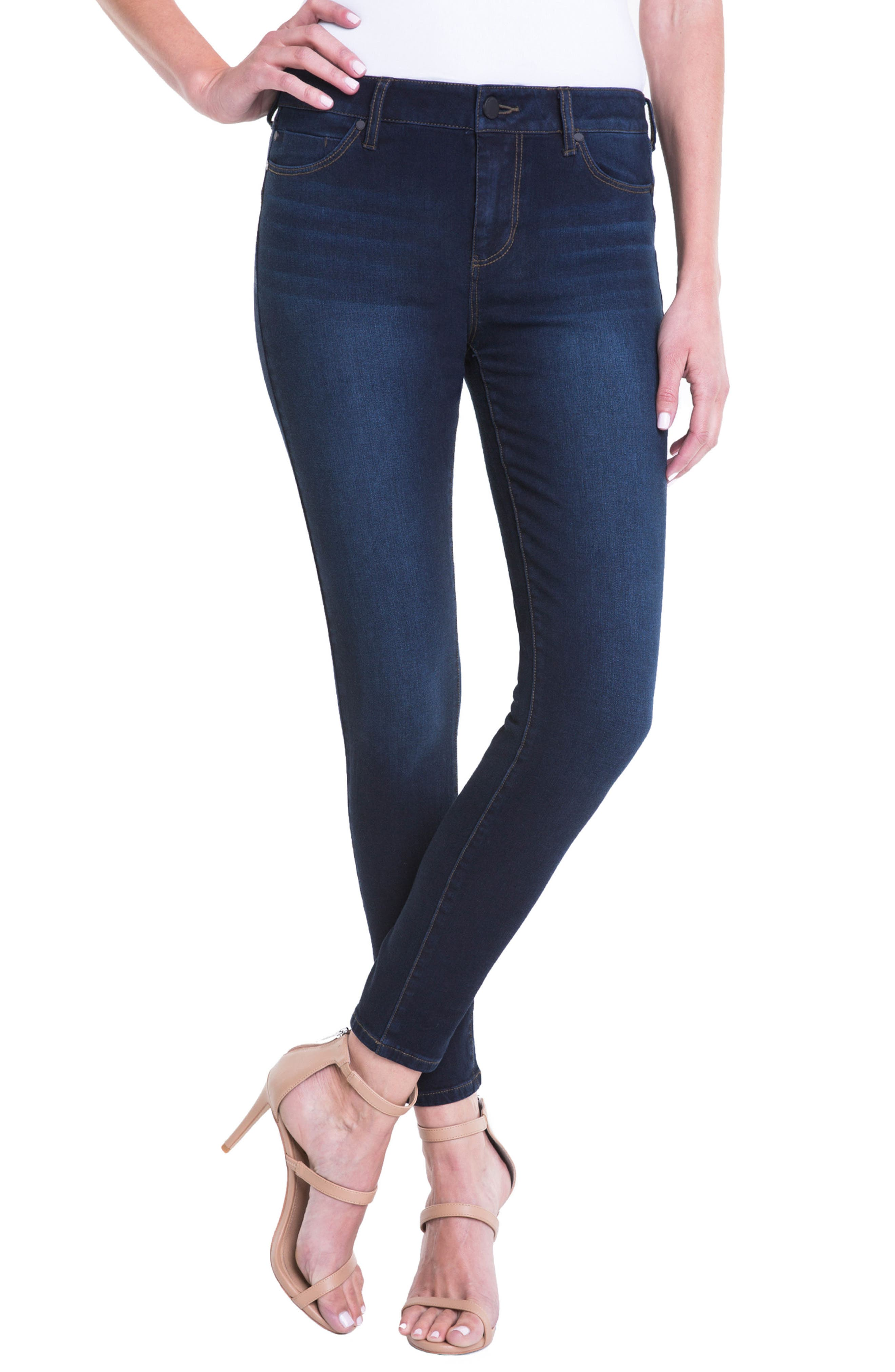 Jeans Company Piper Hugger Lift Sculpt Ankle Skinny Jeans,                         Main,                         color, BLACKOUT BLUE