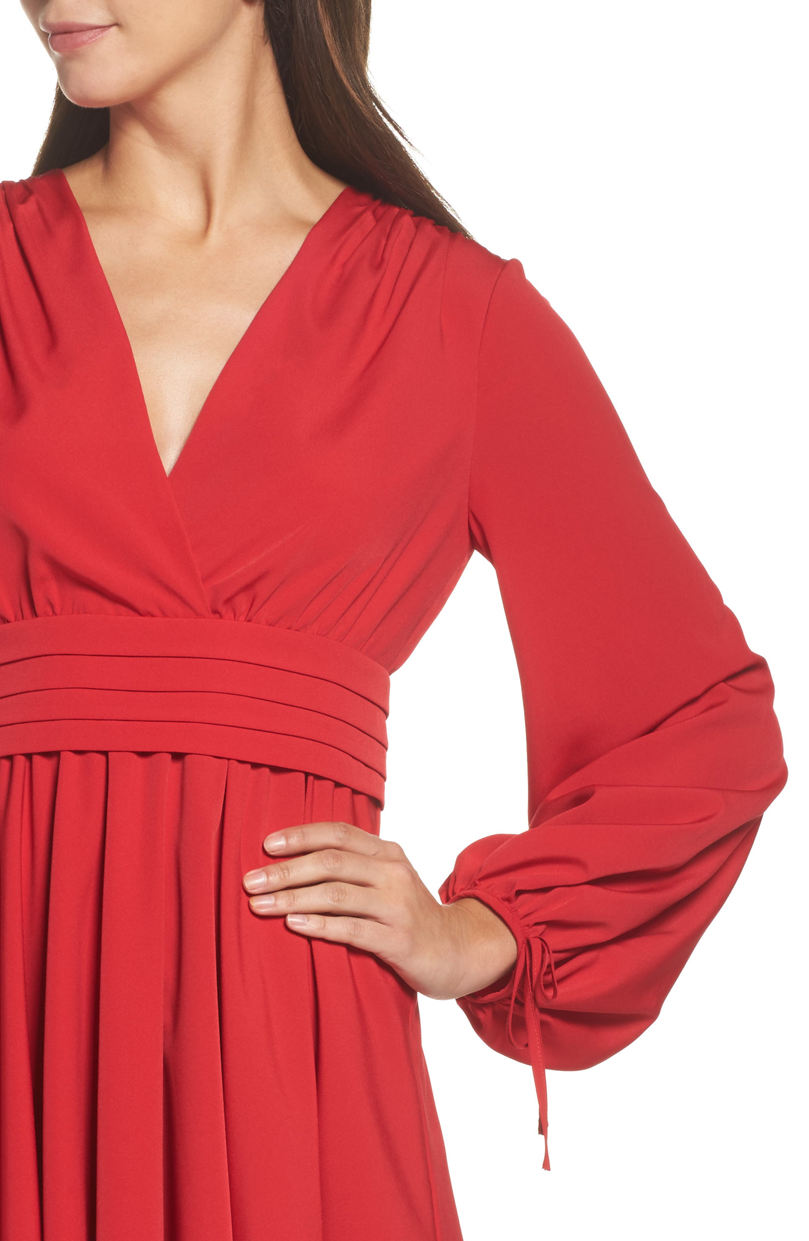 Tie Sleeve Fit & Flare Dress,                             Alternate thumbnail 4, color,                             610