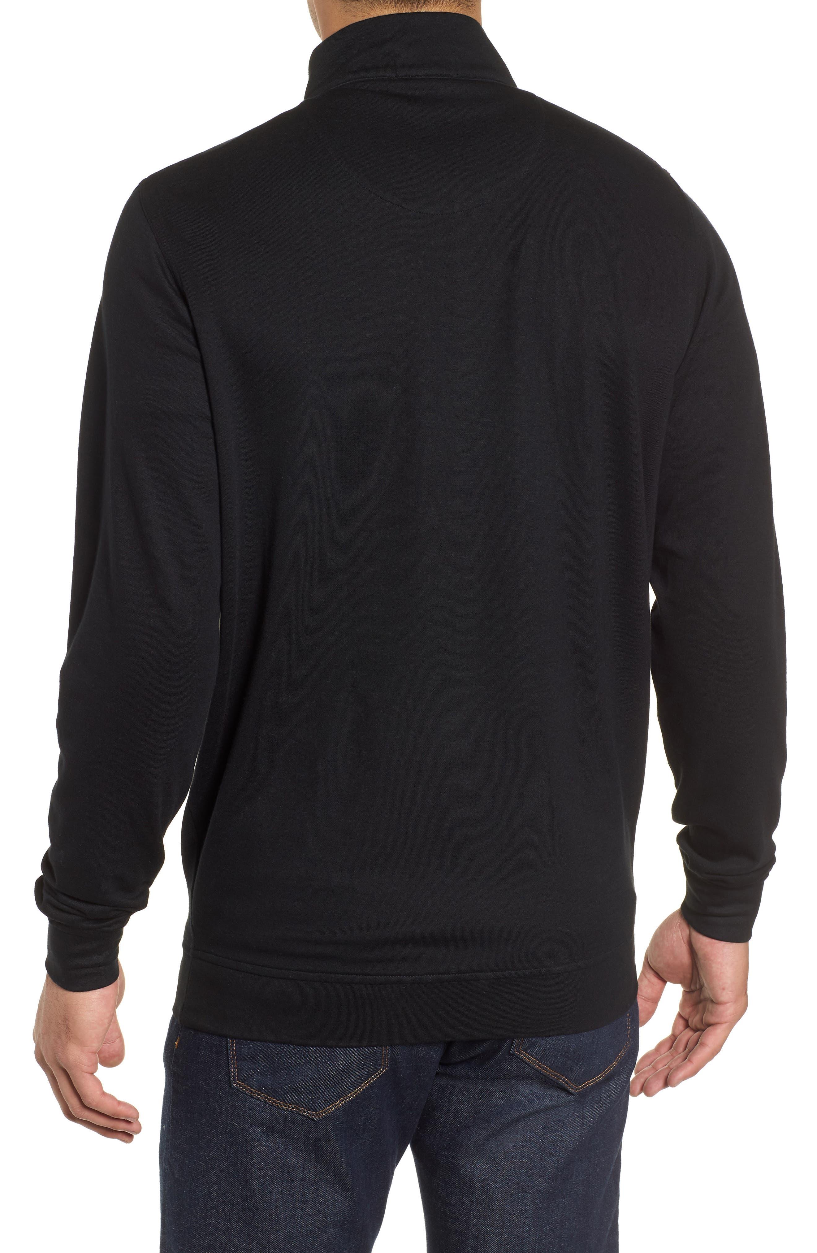 Comfort Interlock Quarter Zip Pullover,                             Alternate thumbnail 2, color,                             BLACK
