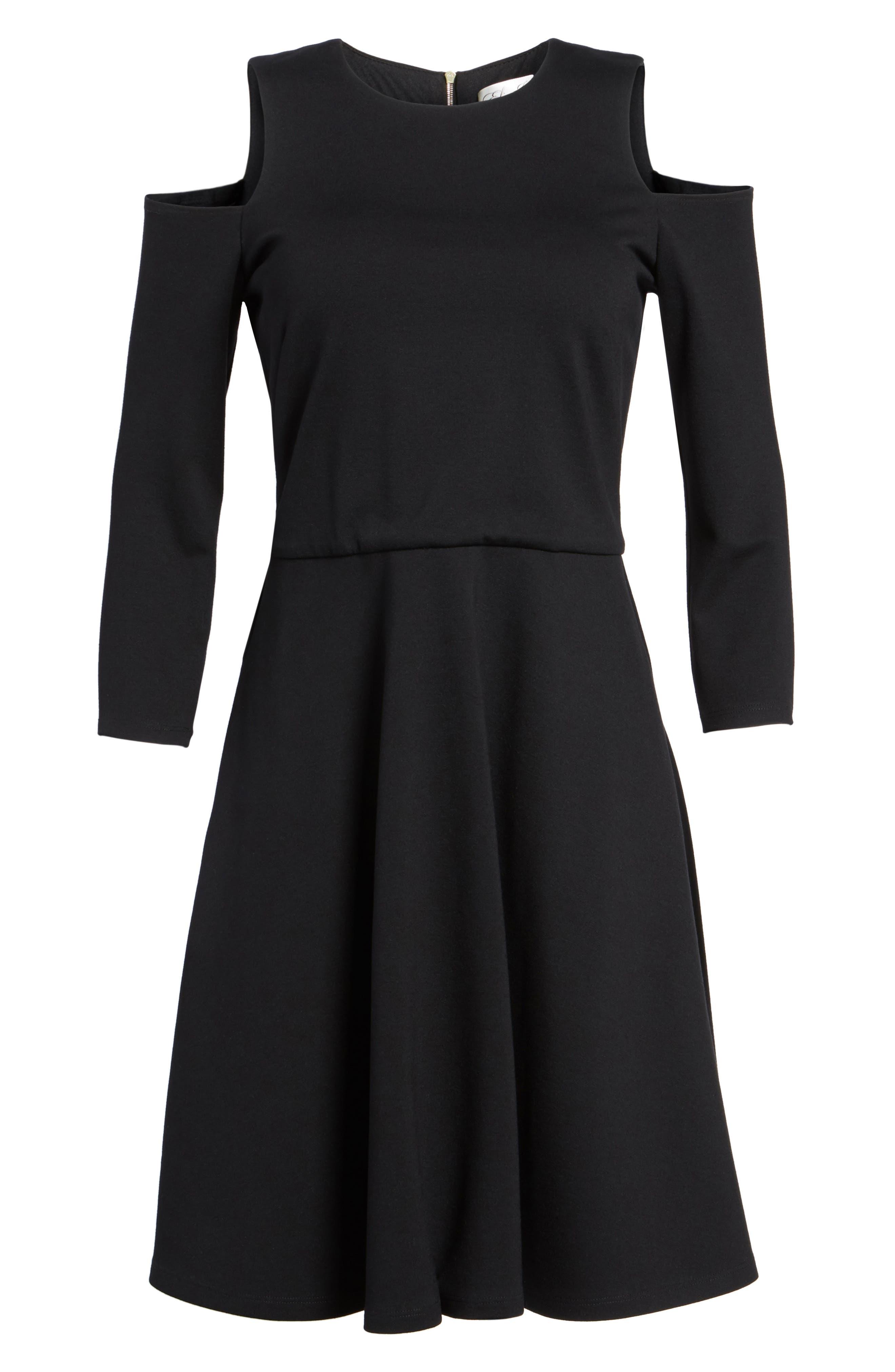 Cold Shoulder Fit & Flare Dress,                             Alternate thumbnail 7, color,                             001