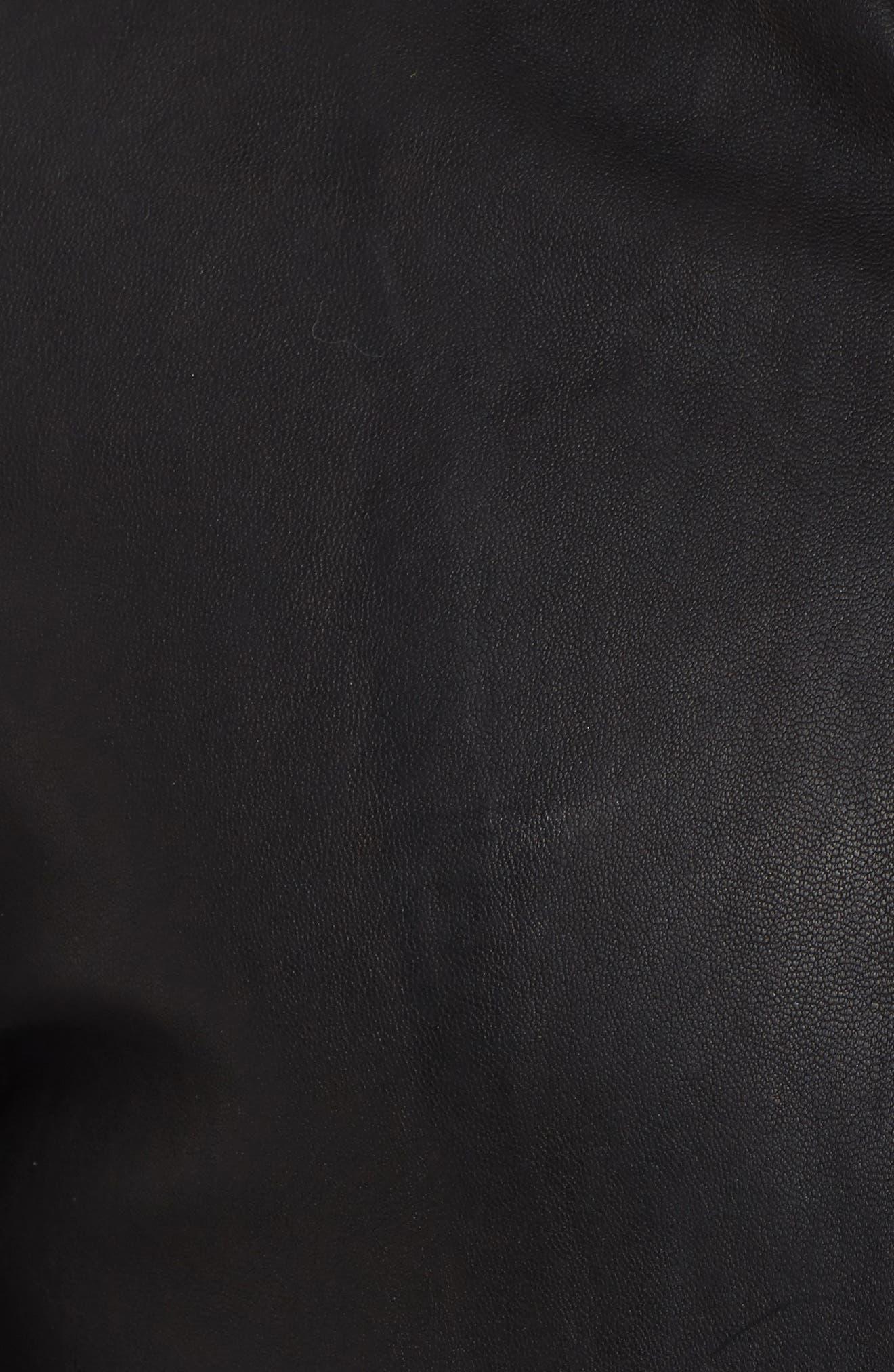 Blake Leather Jacket,                             Alternate thumbnail 6, color,                             BLACK
