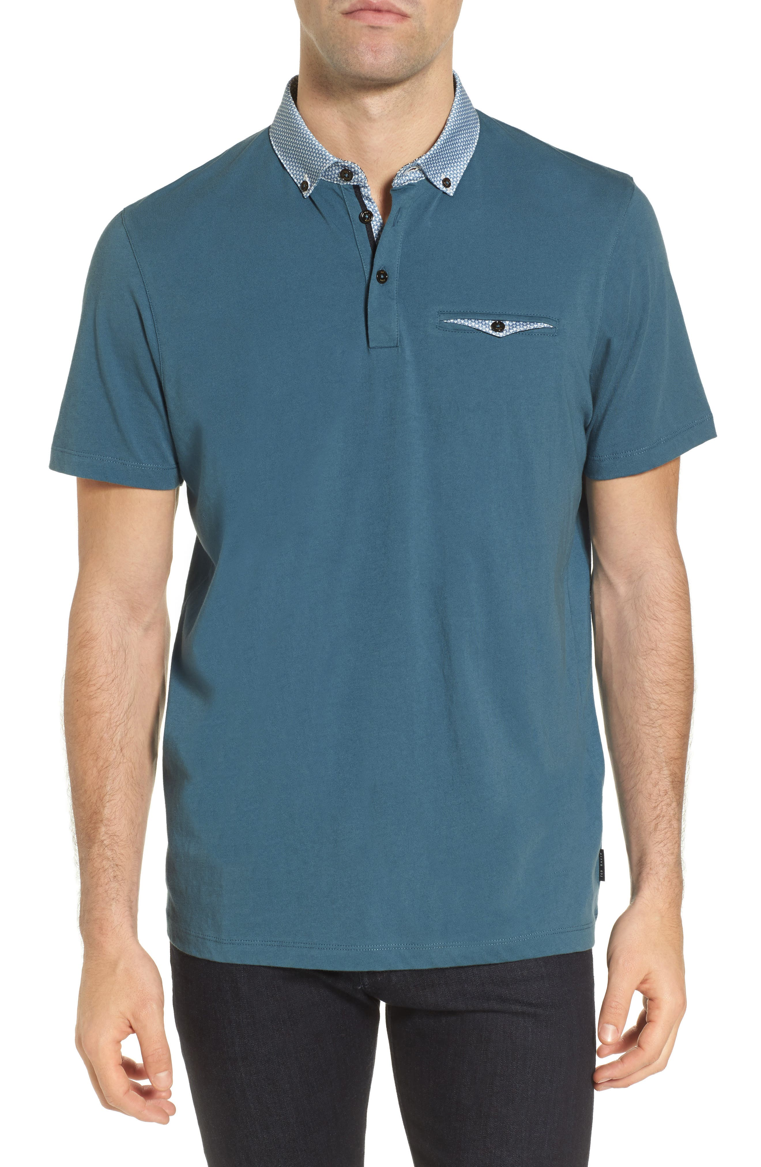 Movey Trim Fit Woven Geo Polo,                             Main thumbnail 1, color,
