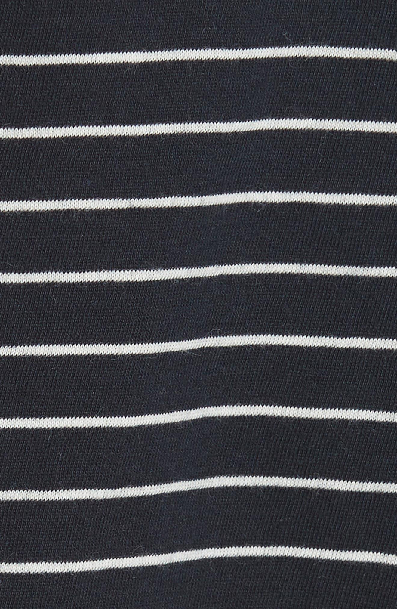 Pencil Stripe Pima Cotton Pullover Top,                             Alternate thumbnail 5, color,                             COASTAL/ VANILLA