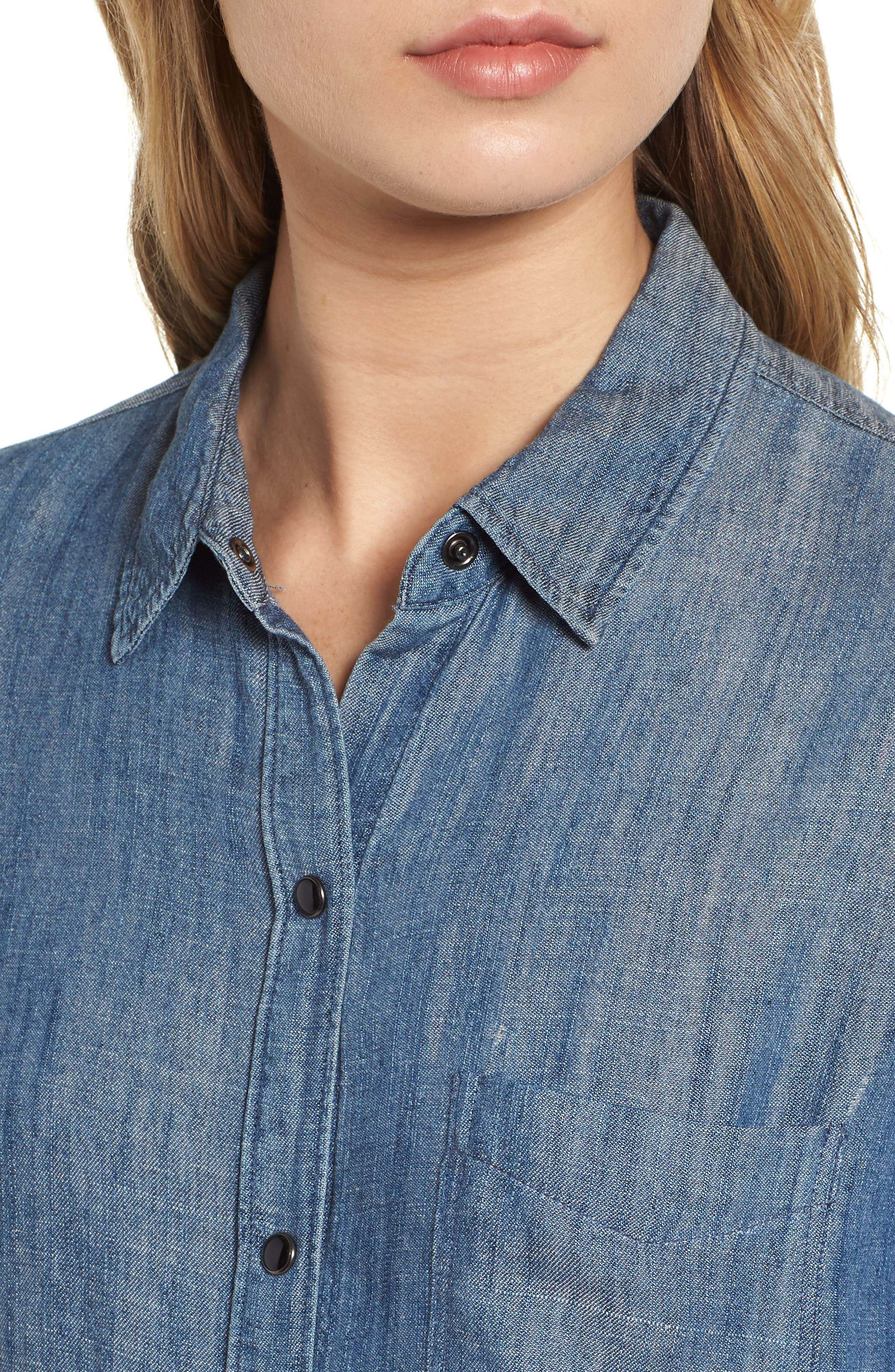 Cass Chambray Top,                             Alternate thumbnail 4, color,                             DARK VINTAGE WASH
