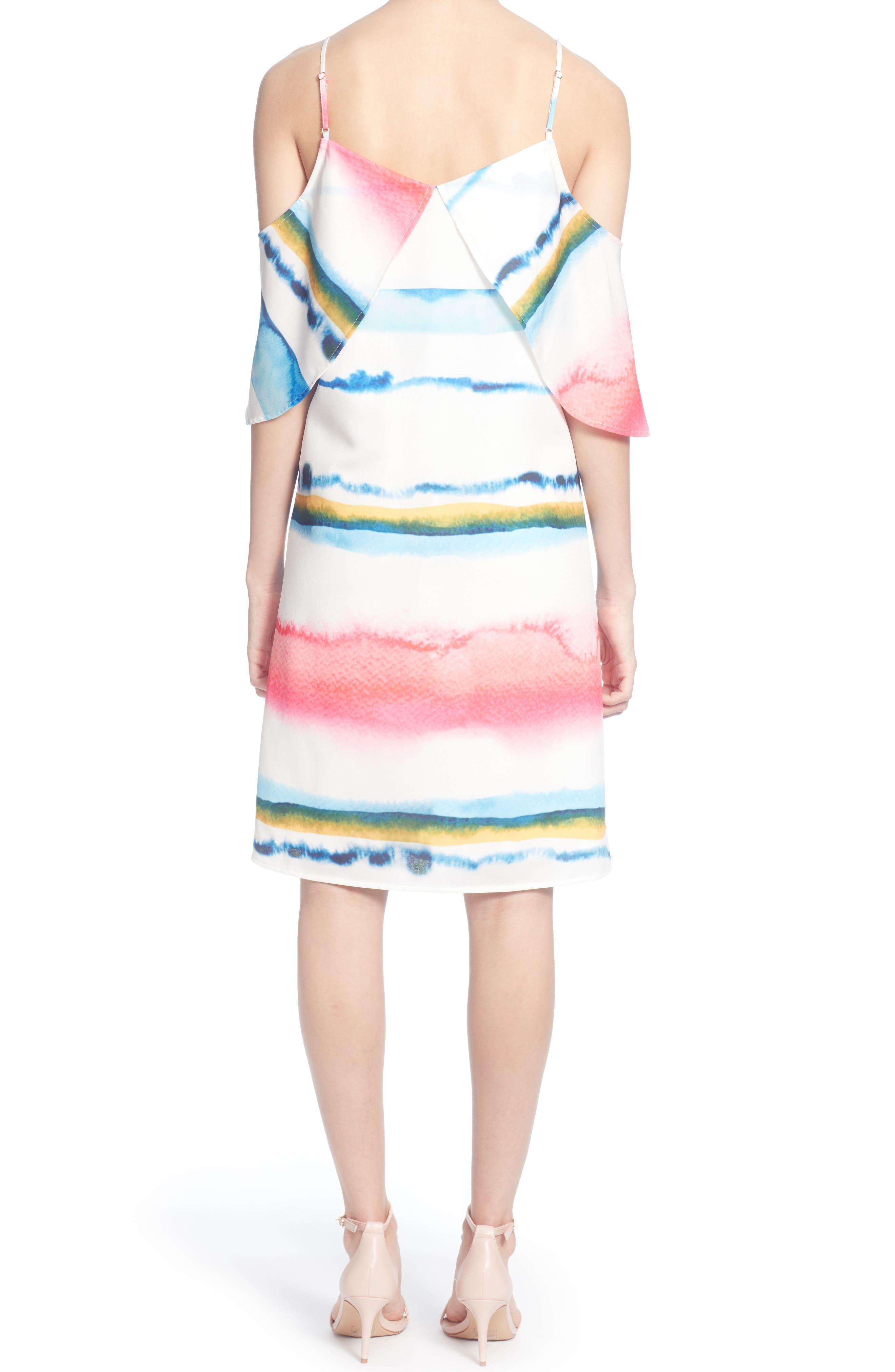 Eden Cold Shoulder Dress, Main, color, WATERCOLOR STRIPE