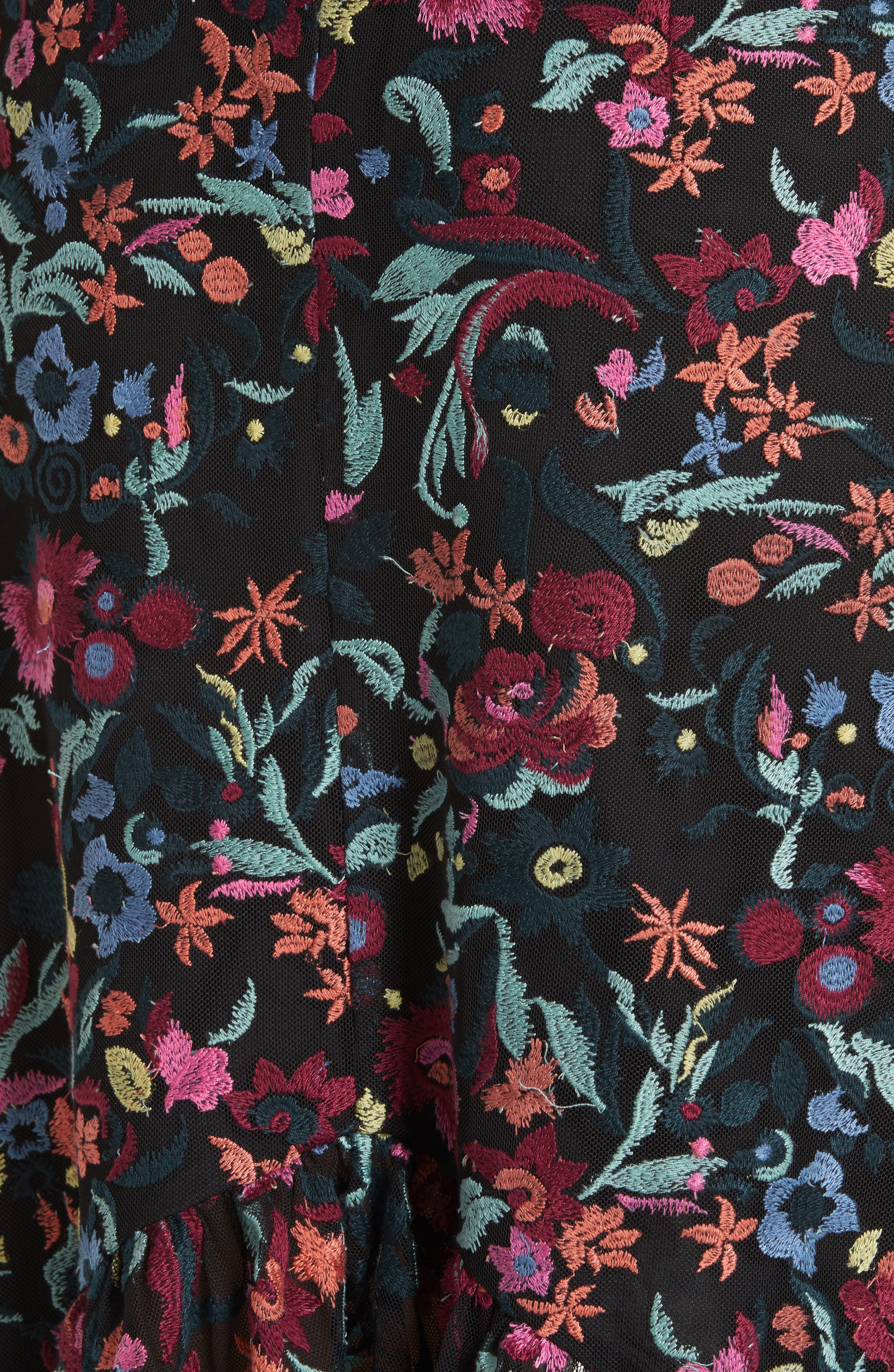 Grace Floral Embroidered Off the Shoulder Tulle Dress,                             Alternate thumbnail 5, color,                             BOUQUET NOIR