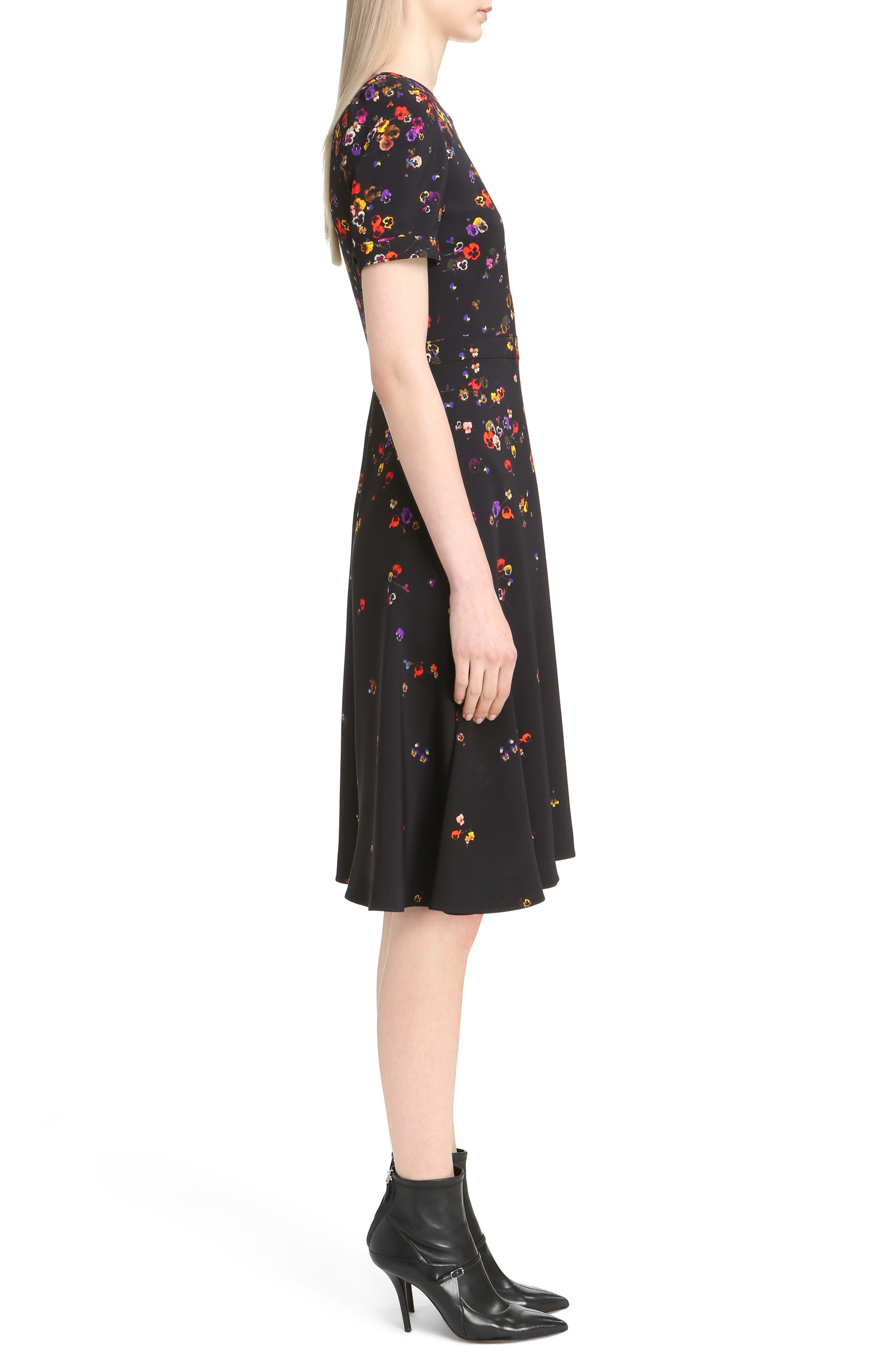 Pansy Print Stretch Cady Dress,                             Alternate thumbnail 3, color,                             001