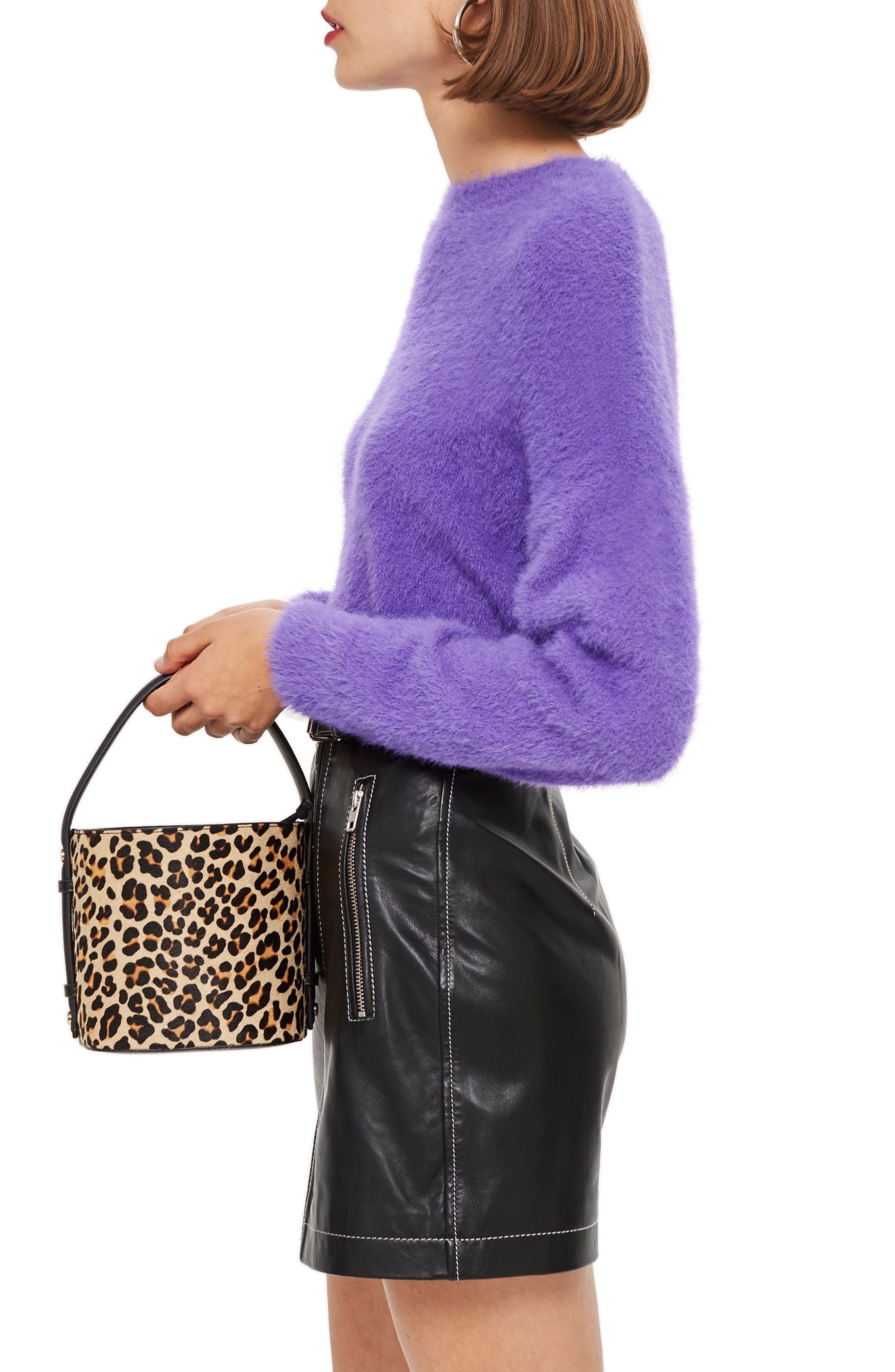 Fluffy Crop Sweater,                             Alternate thumbnail 3, color,                             500