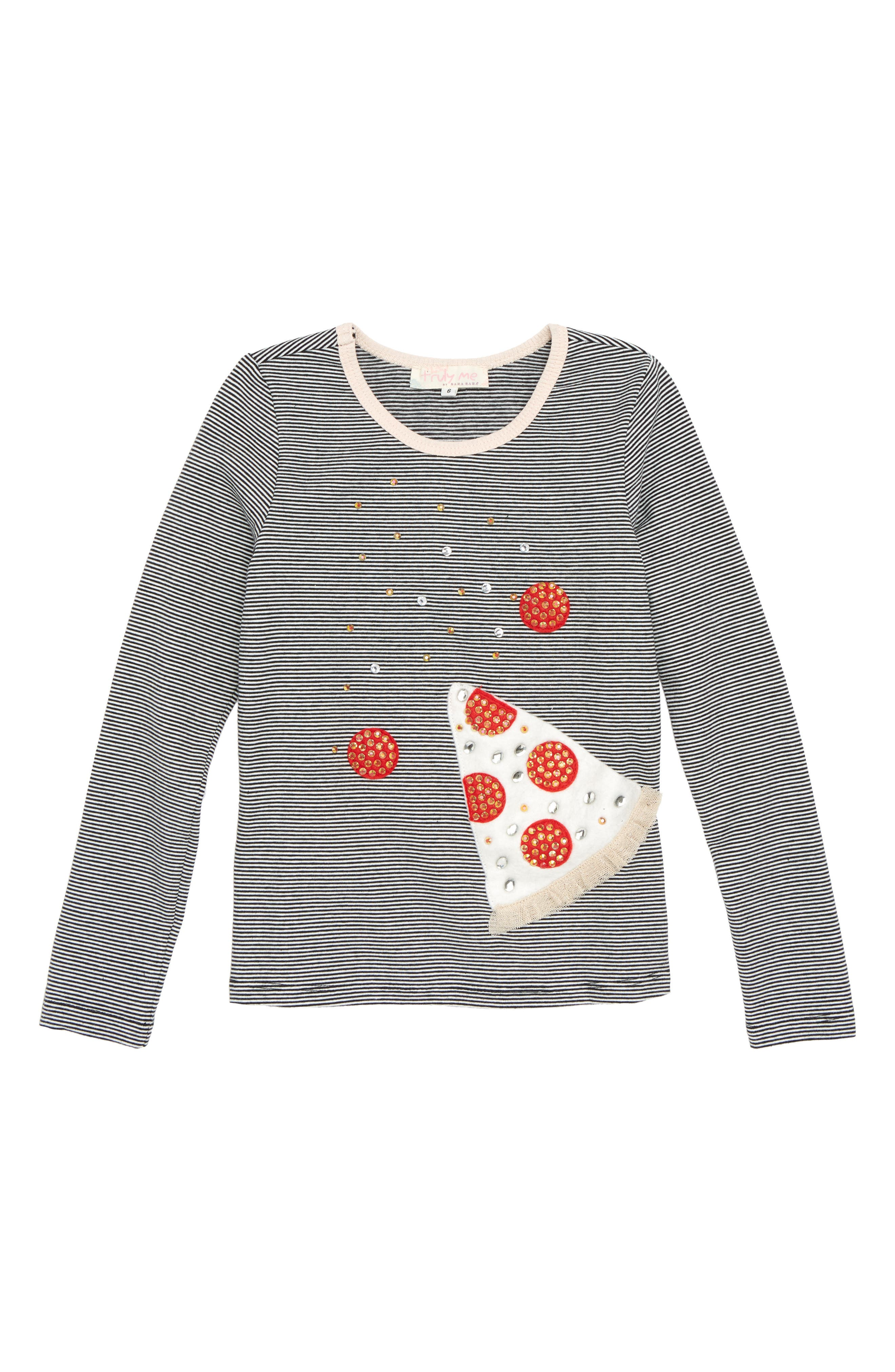 Pizza Appliqué Tee,                             Main thumbnail 1, color,                             001