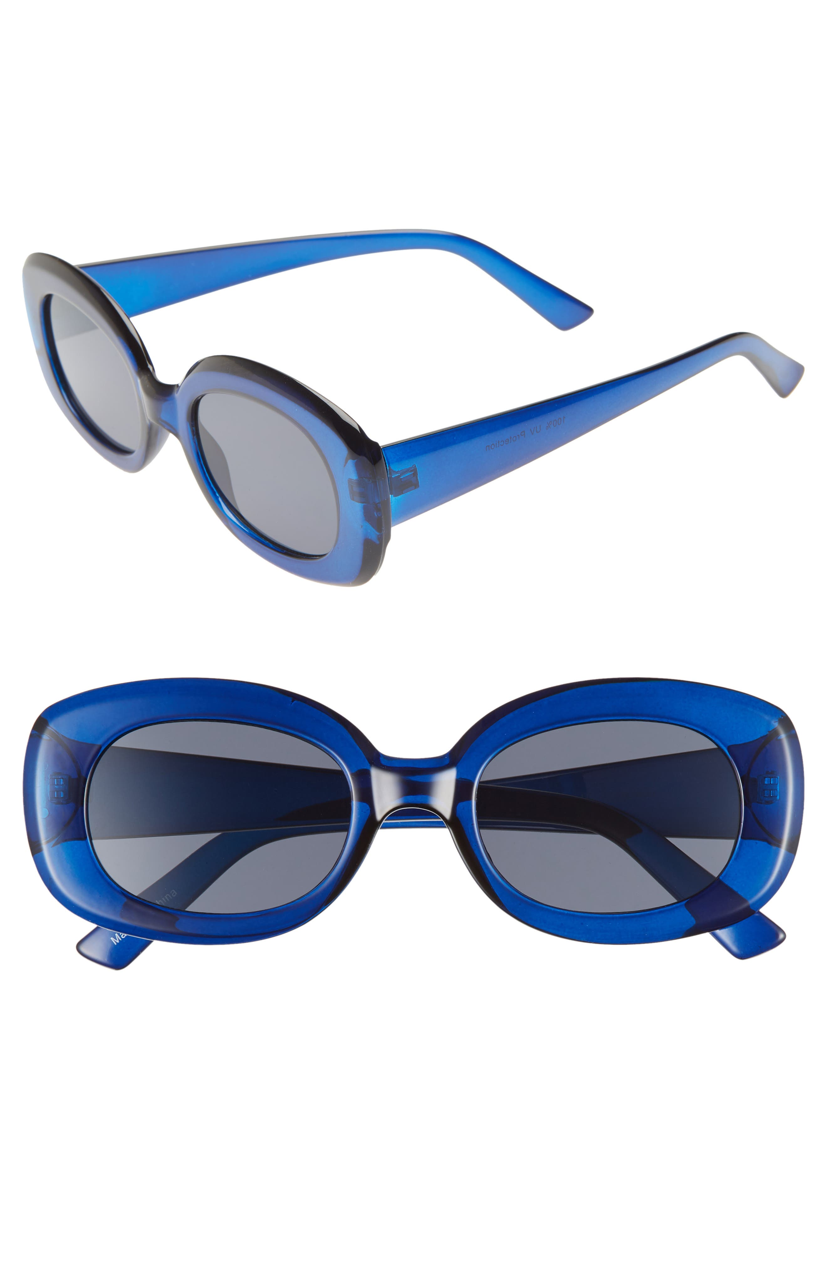 66mm Oval Sunglasses,                         Main,                         color, BLUE/ BLACK