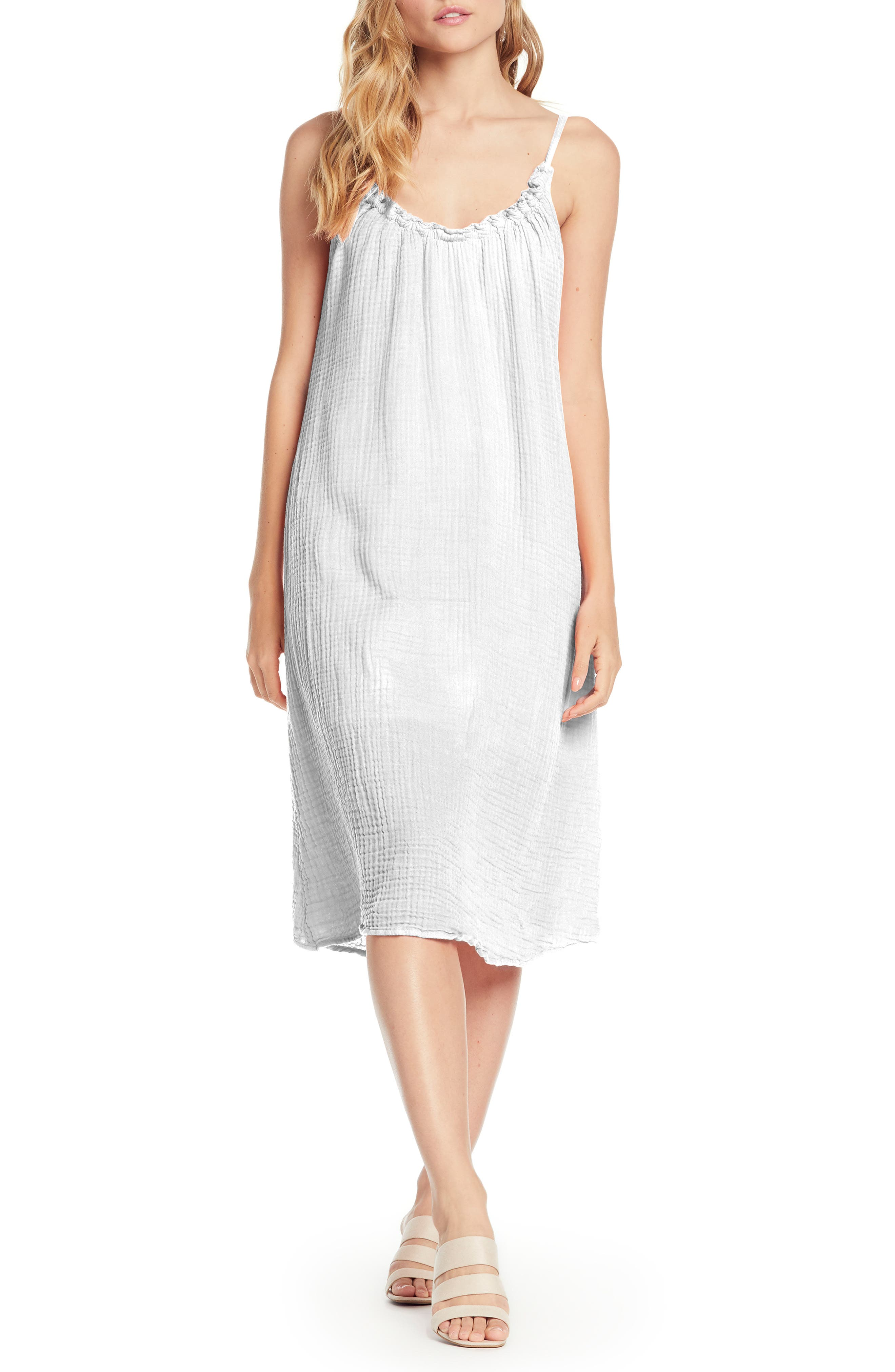Michael Stars Double Gauze Front To Back Dress, White