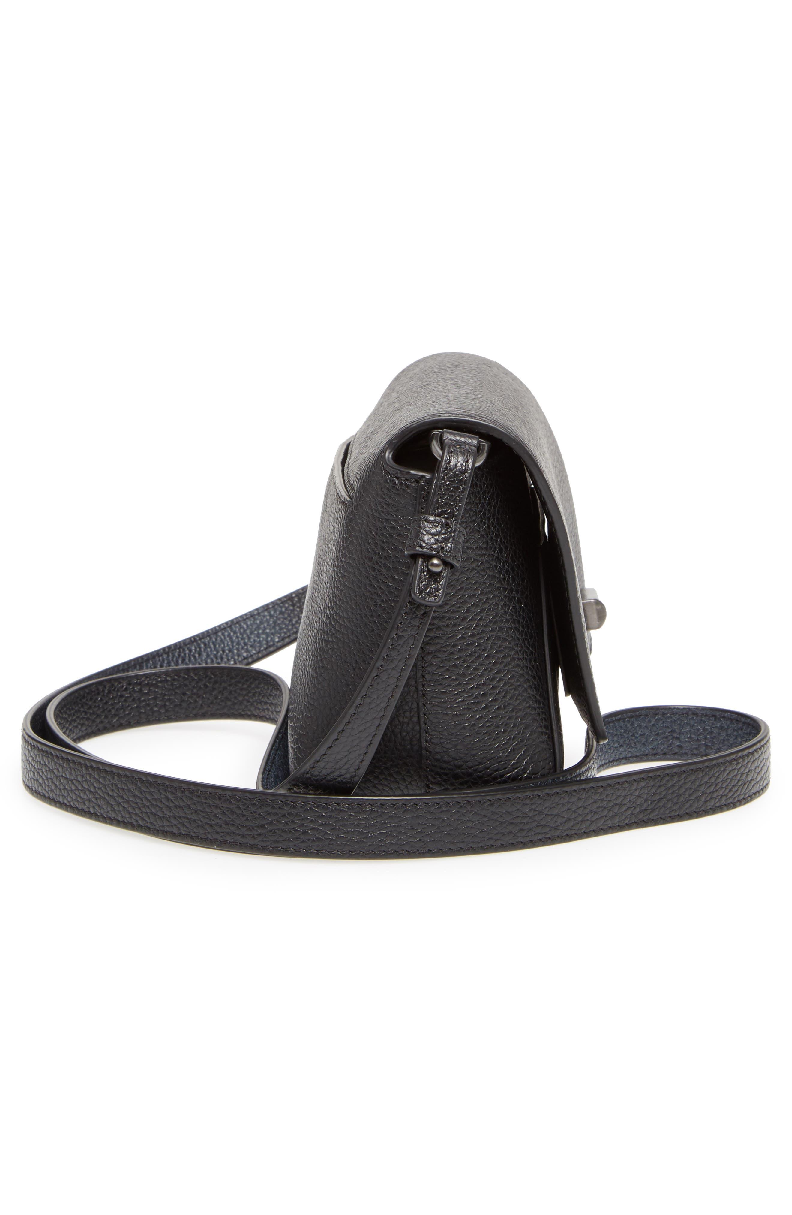 Little Anouk Leather Crossbody Bag,                             Alternate thumbnail 5, color,                             009 BLACK