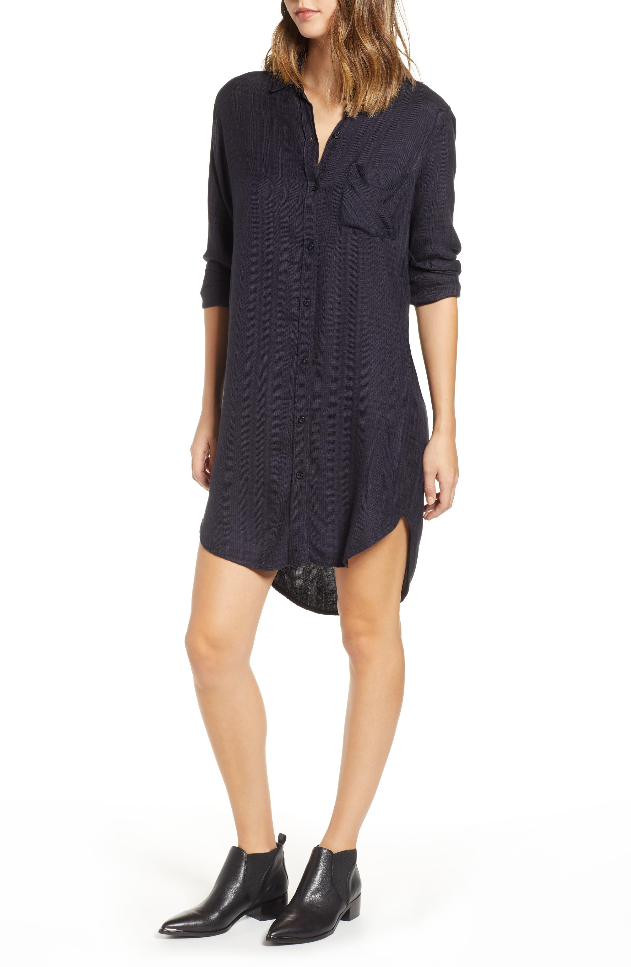 Rails Bianca Flannel Shirtdress, Black