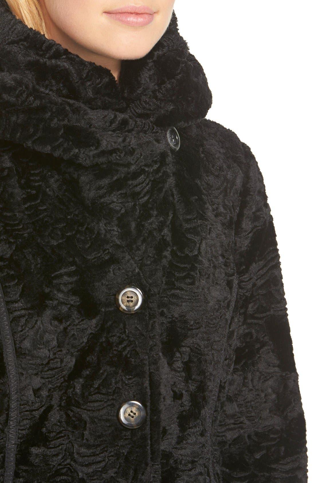 Laundry by ShelliSegalReversible FauxPersian Lamb Fur Coat,                             Alternate thumbnail 6, color,                             001