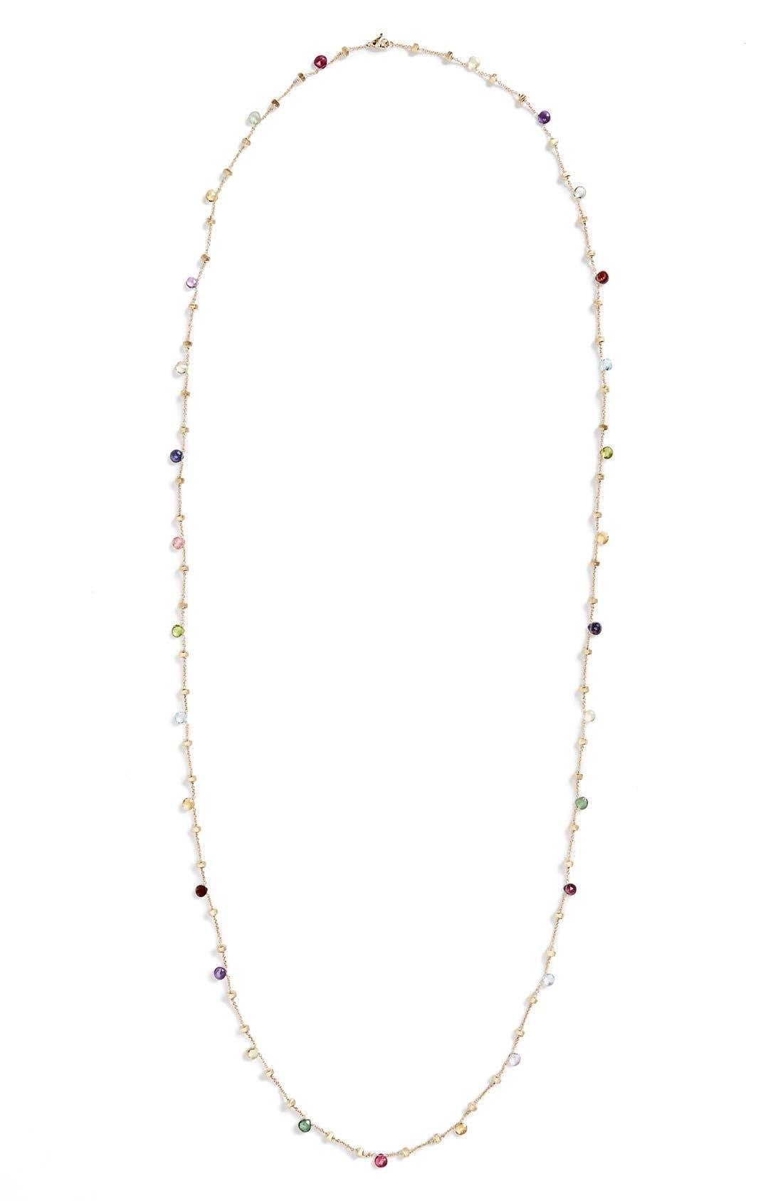 'Paradise' Semiprecious Stone Long Necklace,                             Alternate thumbnail 3, color,                             YELLOW GOLD/ MULTI