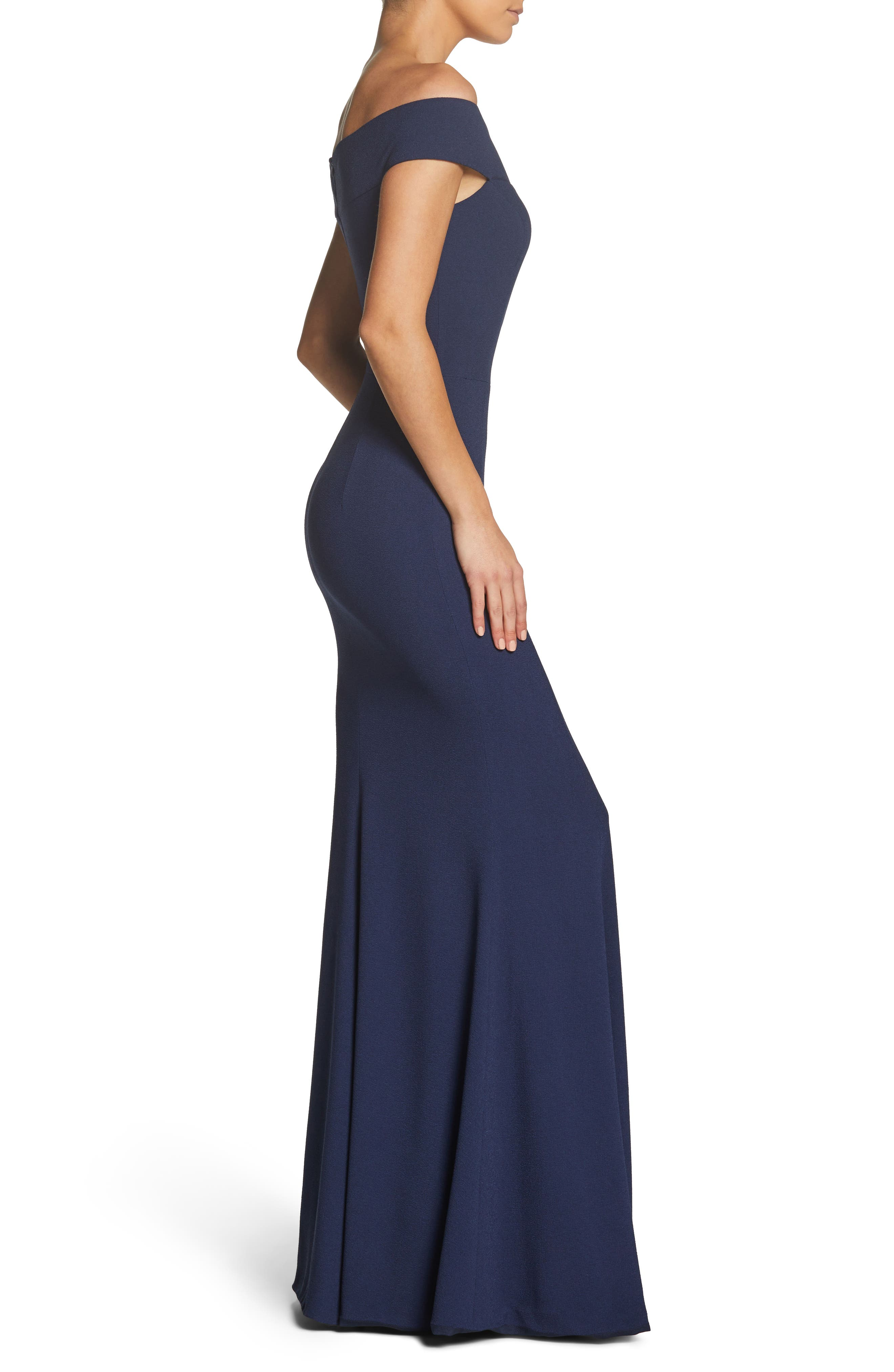 Jackie Off the Shoulder Crepe Trumpet Gown,                             Alternate thumbnail 3, color,                             NAVY