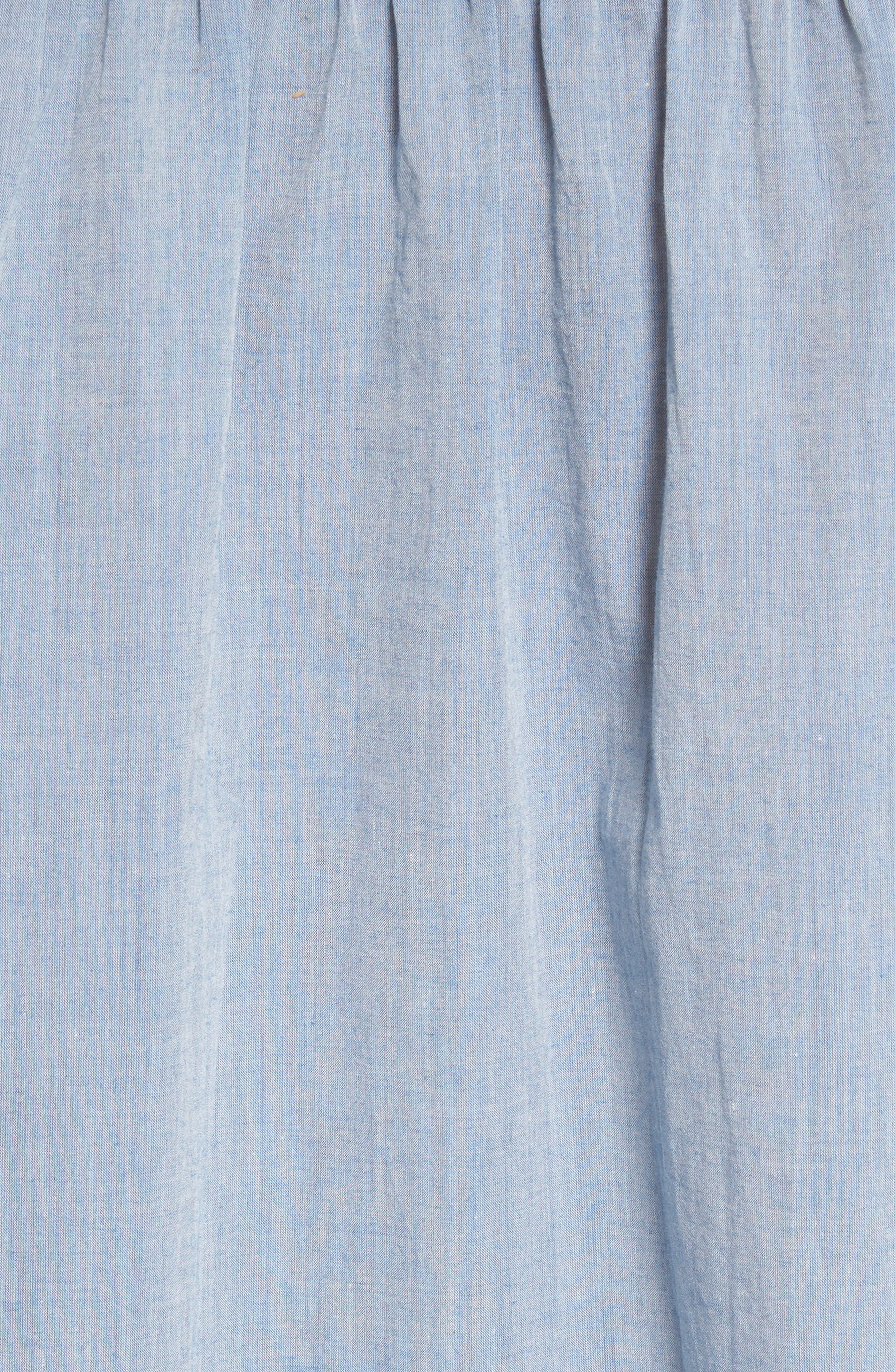 Marlen Embroidered Chambray Top,                             Alternate thumbnail 5, color,                             470