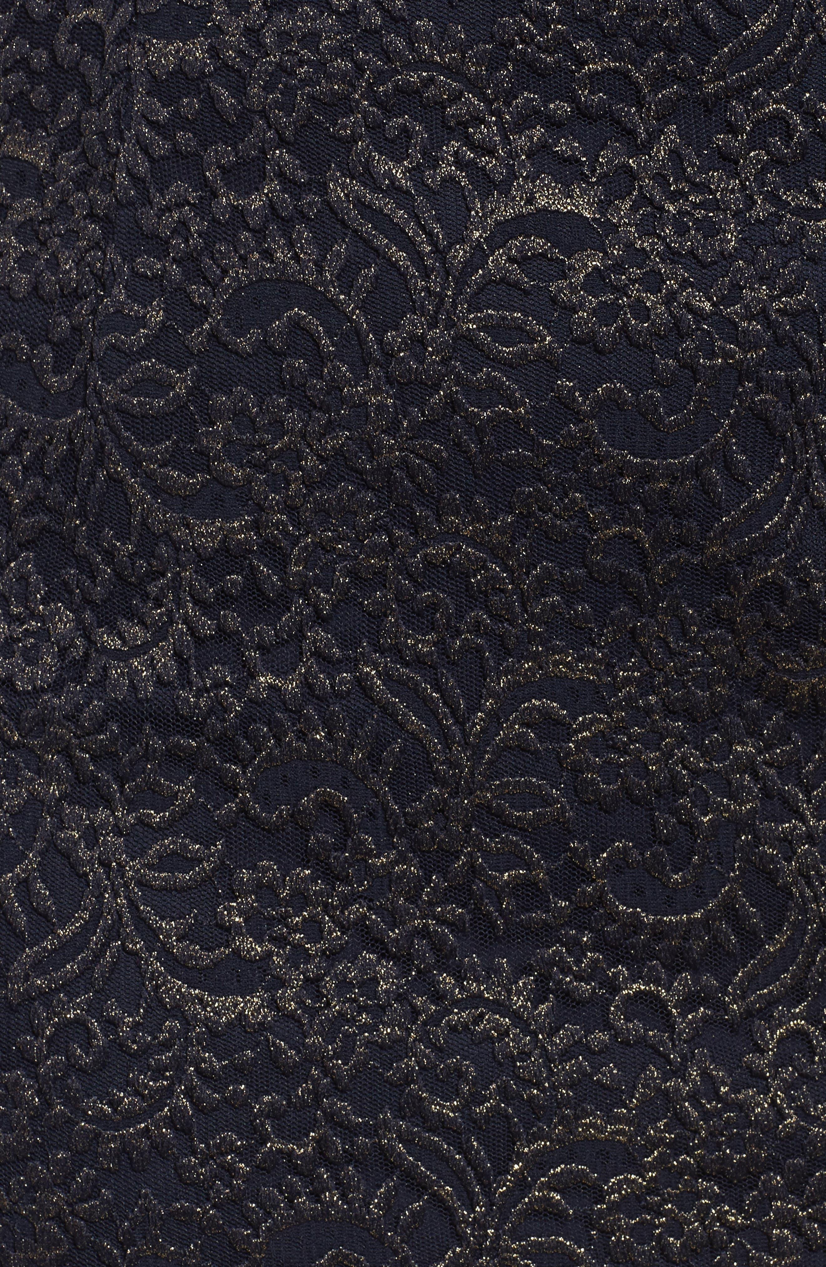 Metallic Lace Sheath Dress,                             Alternate thumbnail 5, color,