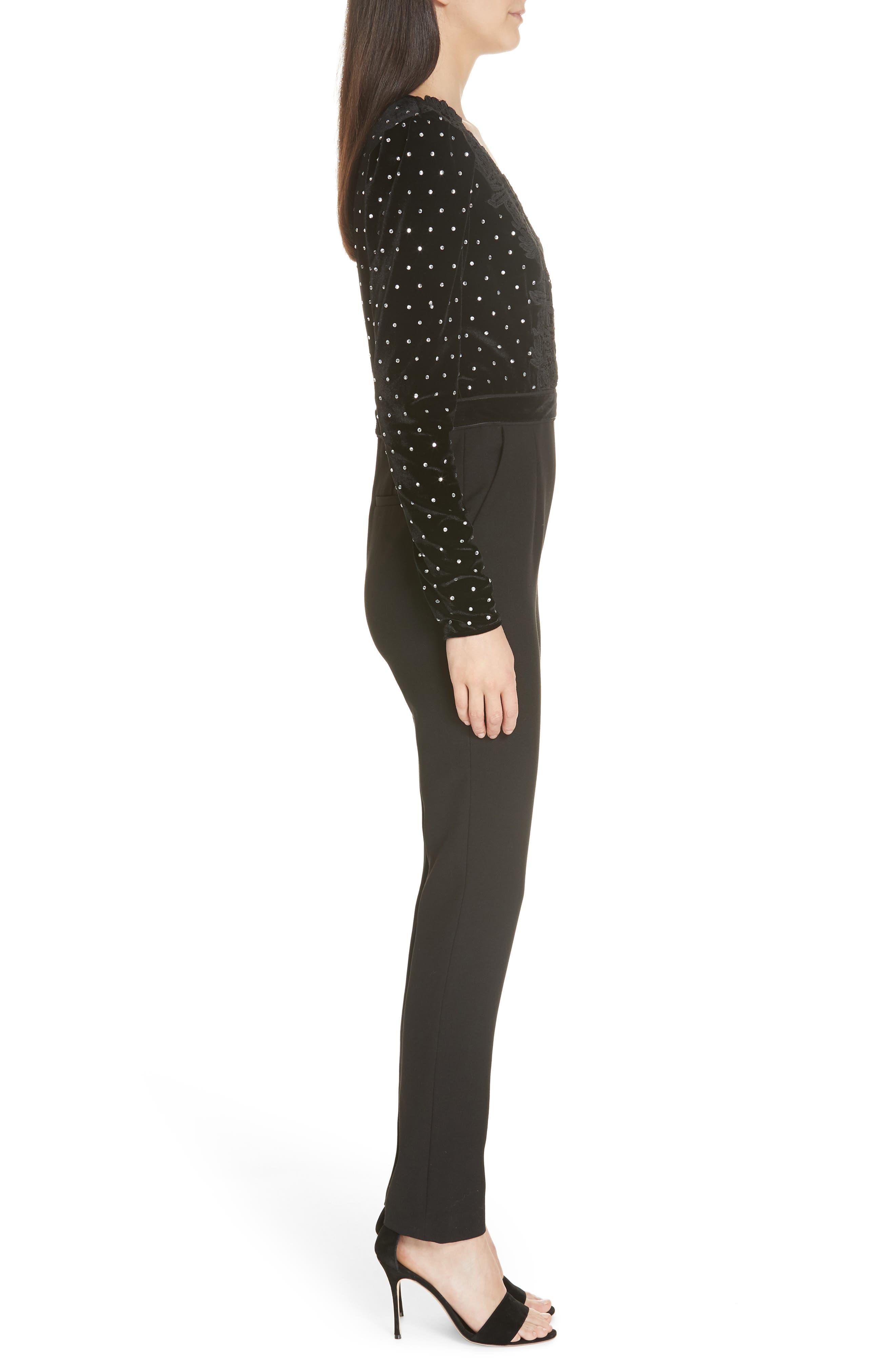 Lace Trim Velvet Diamante Jumpsuit,                             Alternate thumbnail 3, color,                             BLACK