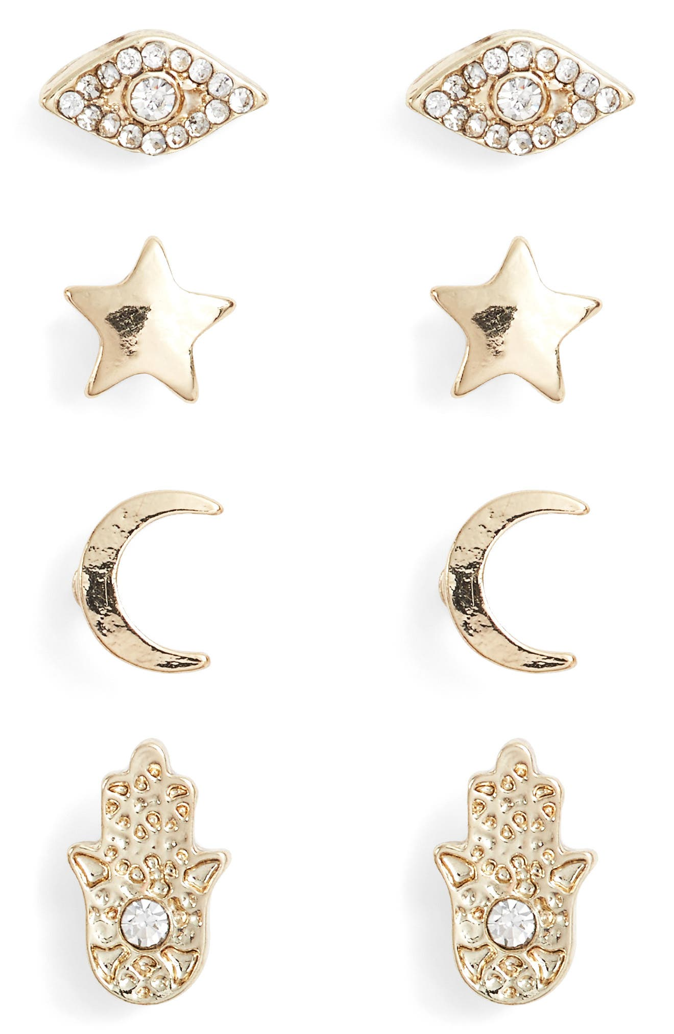 Set of 4 Stud Earrings,                         Main,                         color, GOLD