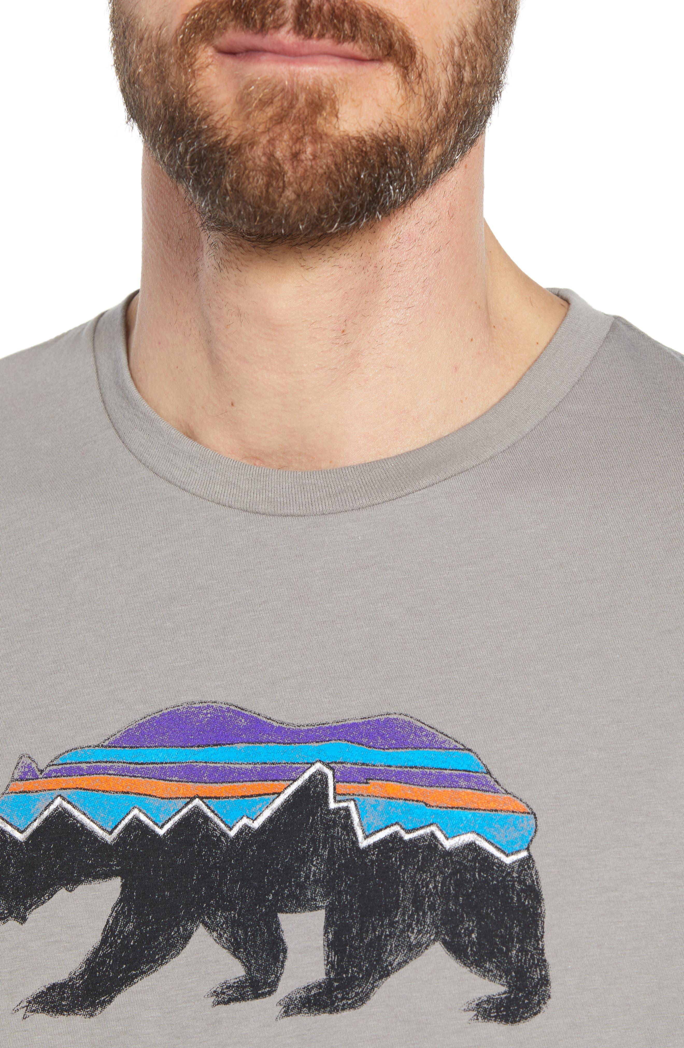 Fitz Roy Bear Crewneck T-Shirt,                             Alternate thumbnail 4, color,                             FEATHER GREY
