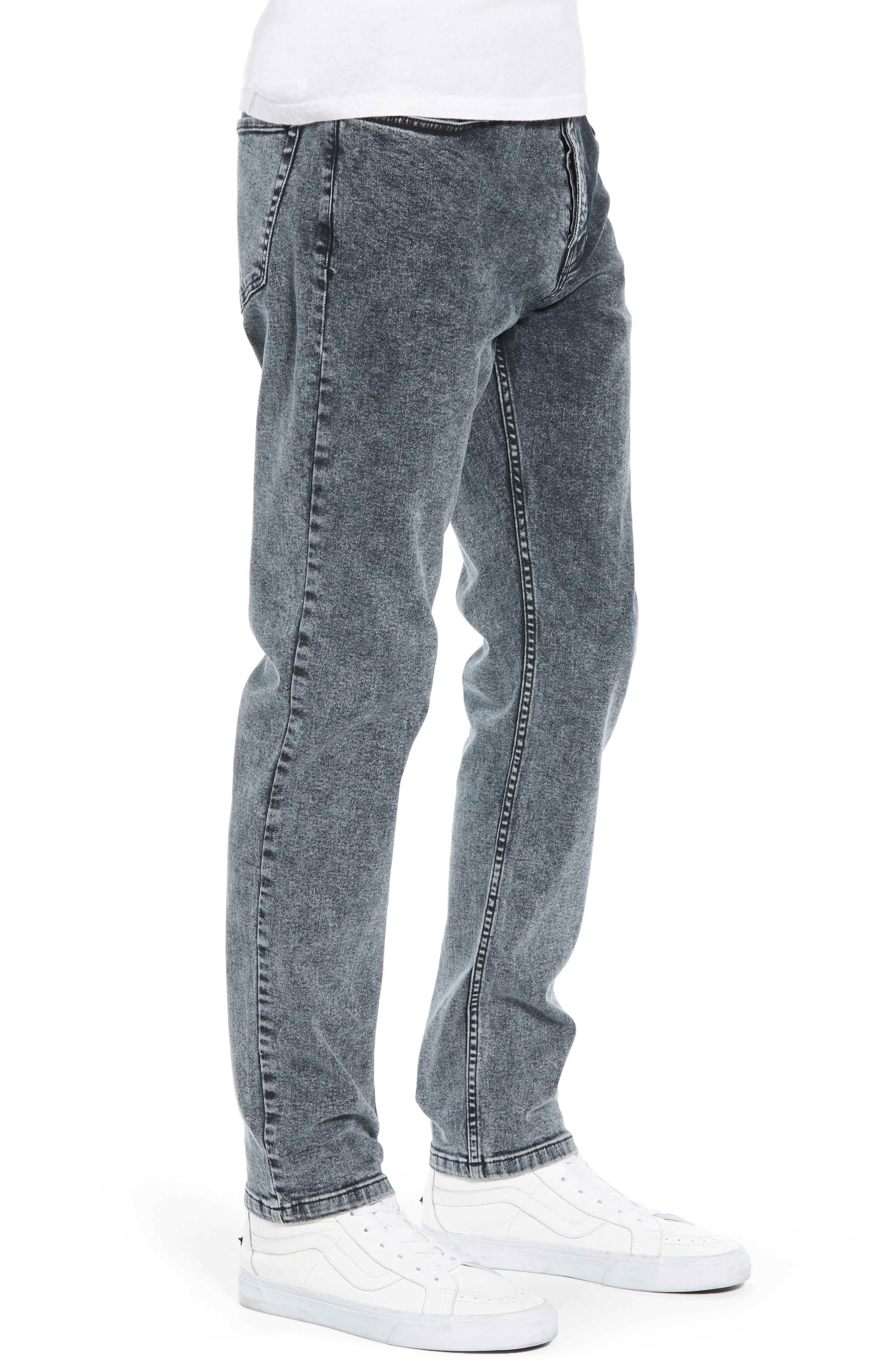 Acid Wash Stretch Skinny Jeans,                             Alternate thumbnail 3, color,                             GREY