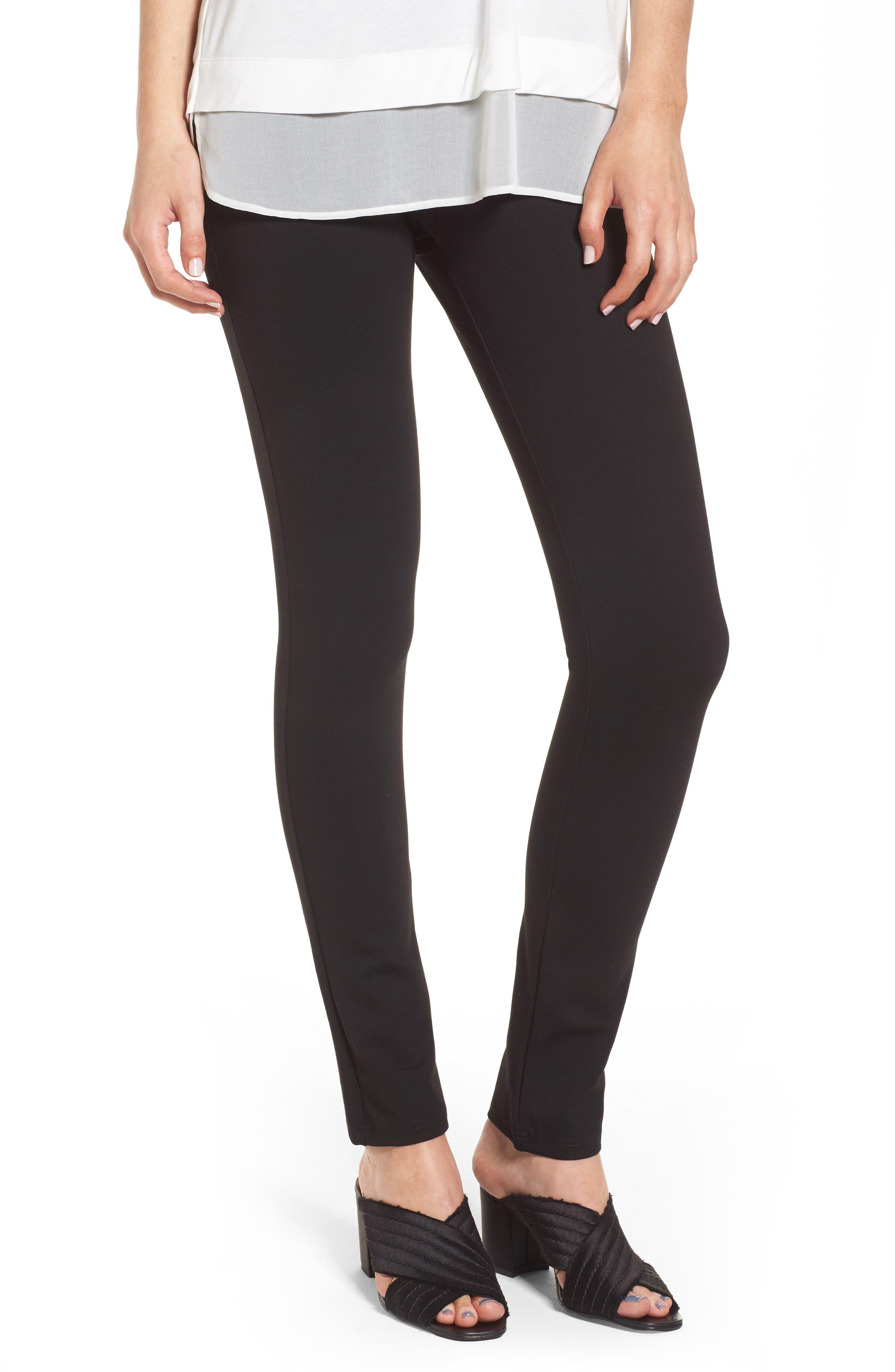 High Waist Ponte Pants,                         Main,                         color, BLACK