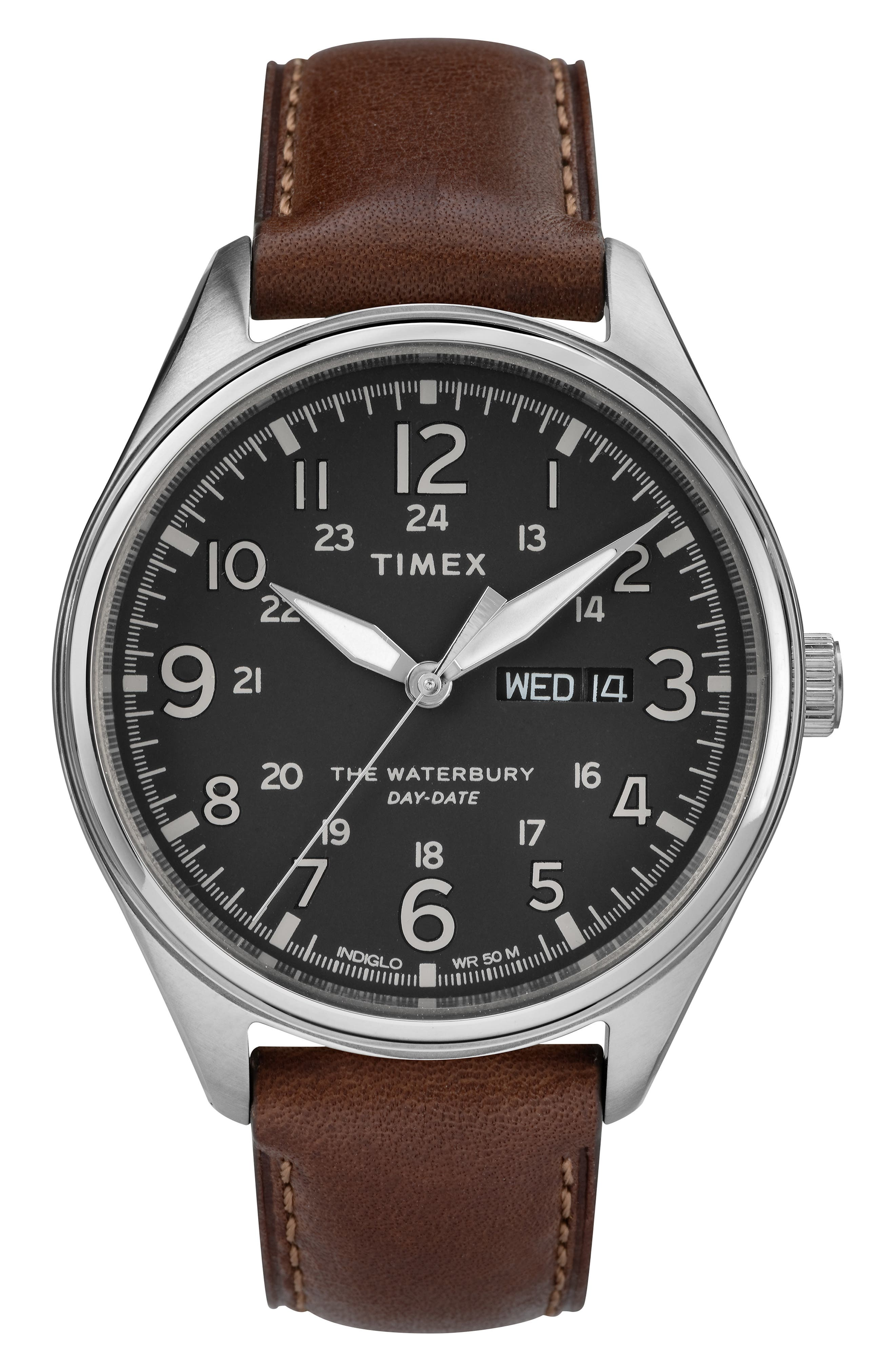 Waterbury Leather Band Watch, 42mm, Main, color, BROWN/ BLACK/ SILVER