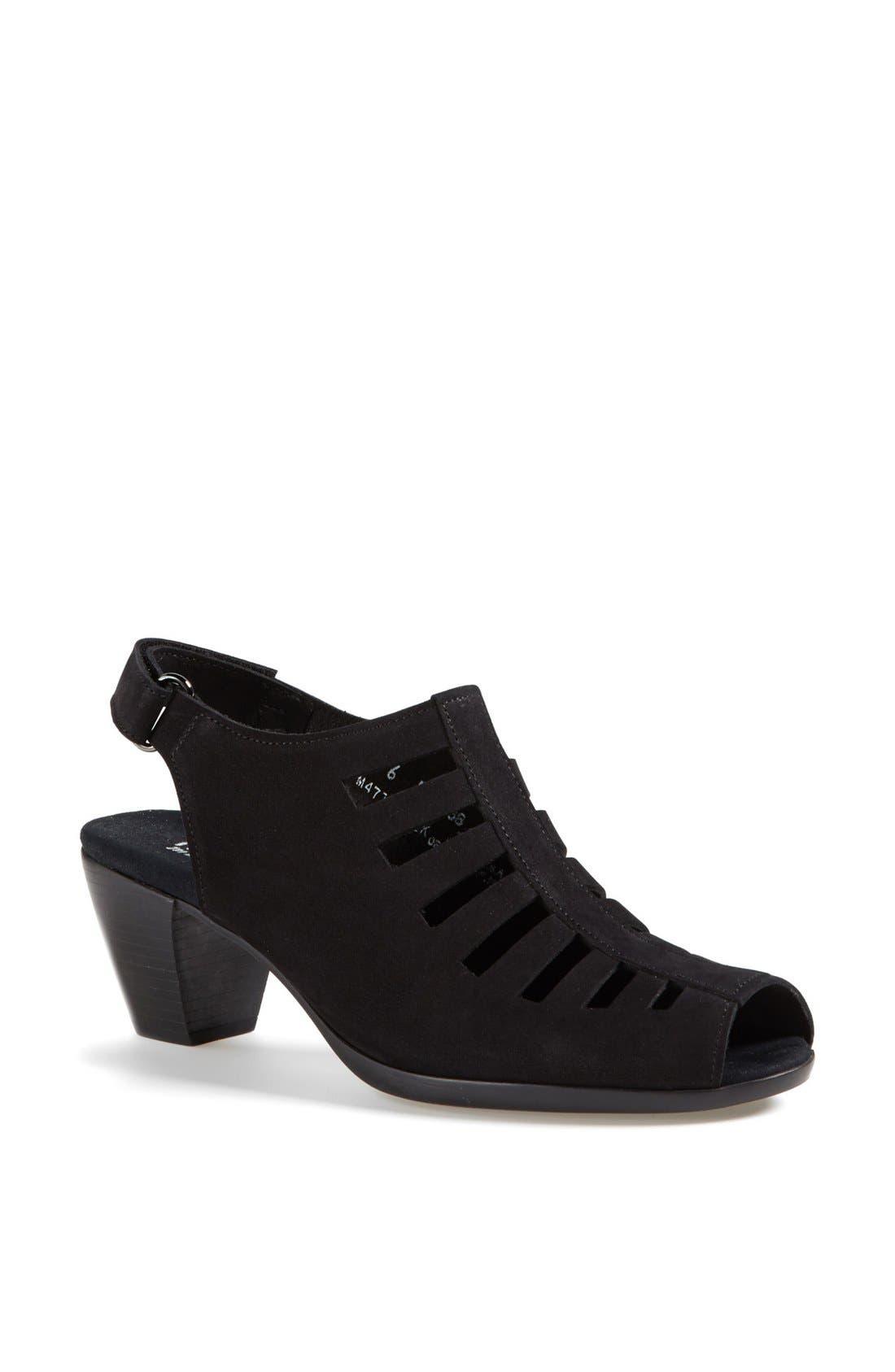 MUNRO,                             'Abby' Slingback Sandal,                             Main thumbnail 1, color,                             BLACK NUBUCK LEATHER