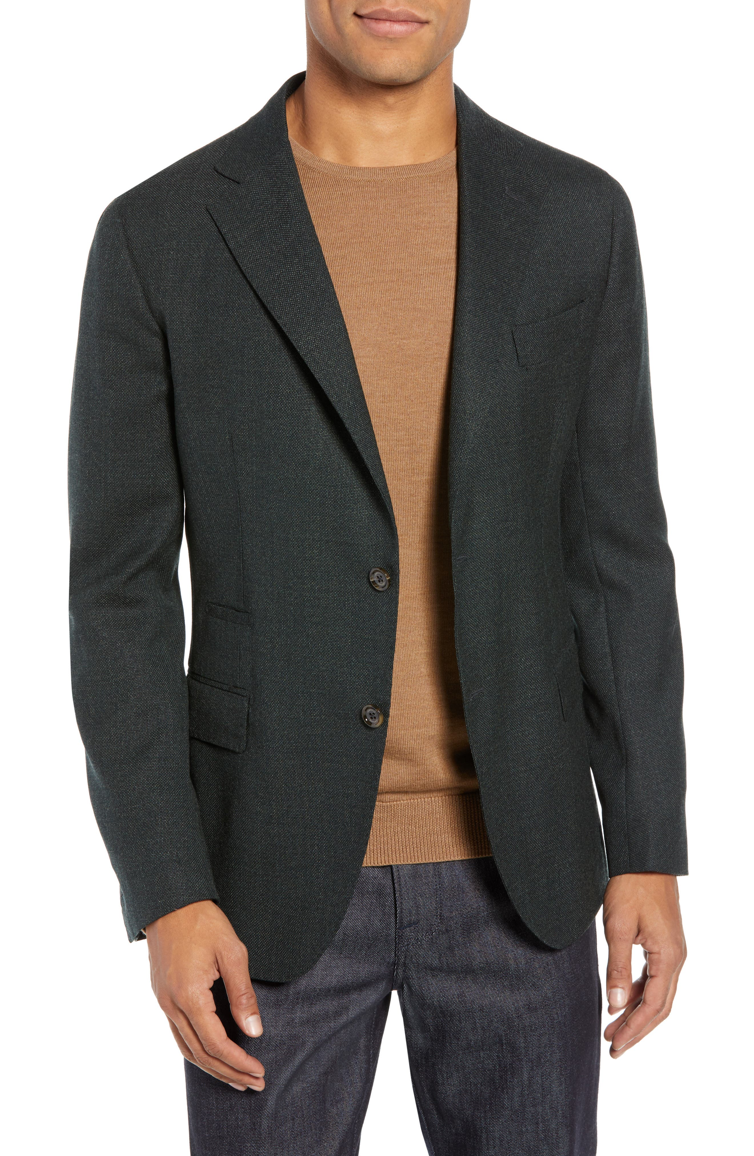 Trim Fit Wool Blazer,                         Main,                         color, GREEN