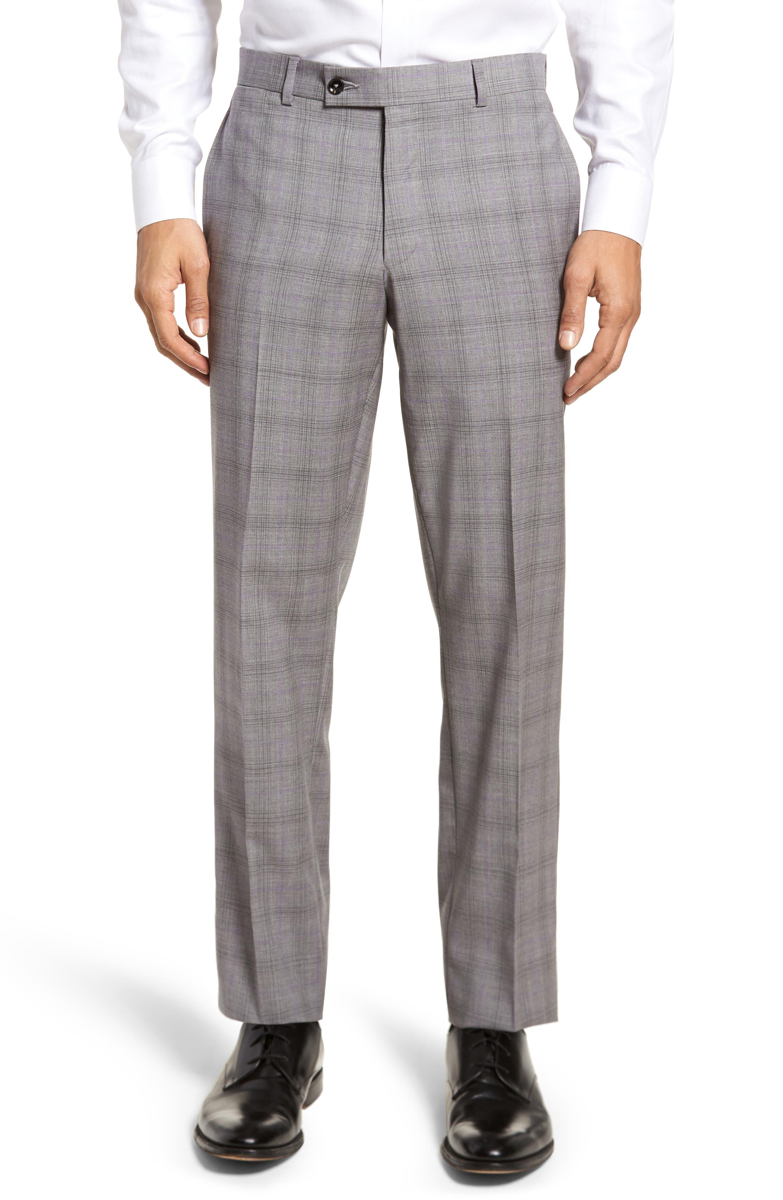 Jay Trim Fit Plaid Wool Suit,                             Alternate thumbnail 6, color,                             050